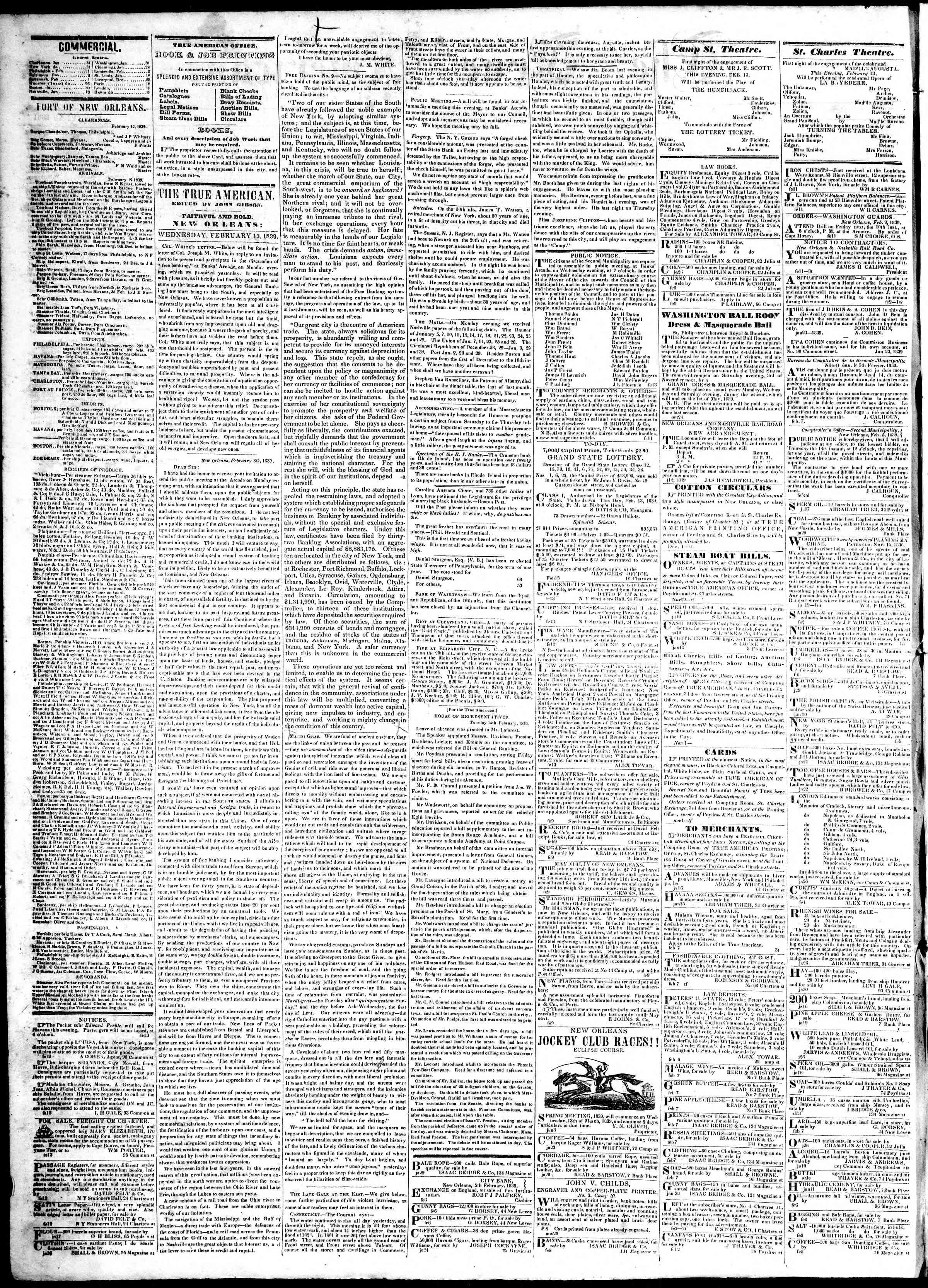 February 13, 1839 Tarihli True American Gazetesi Sayfa 2
