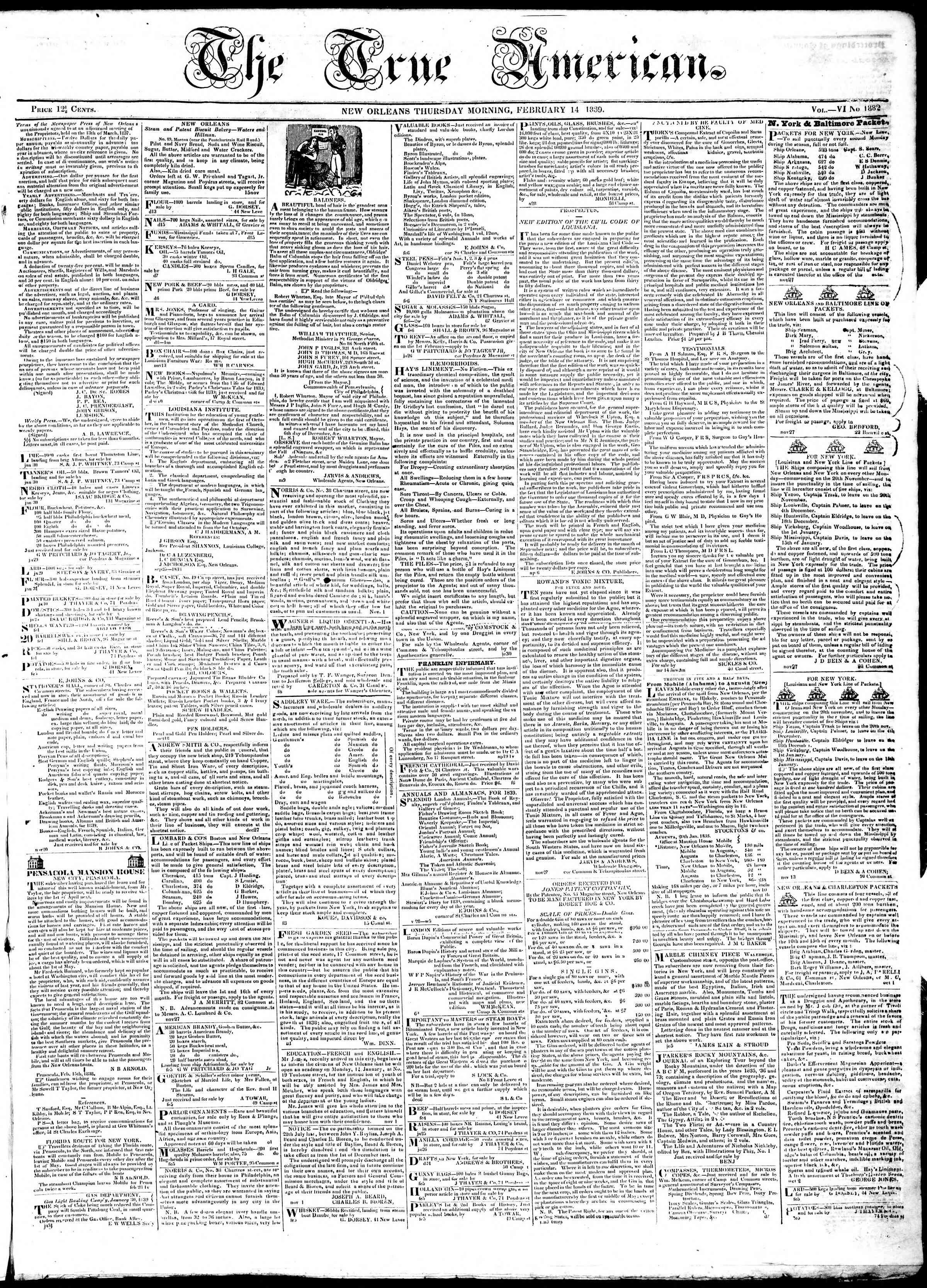 February 14, 1839 Tarihli True American Gazetesi Sayfa 1