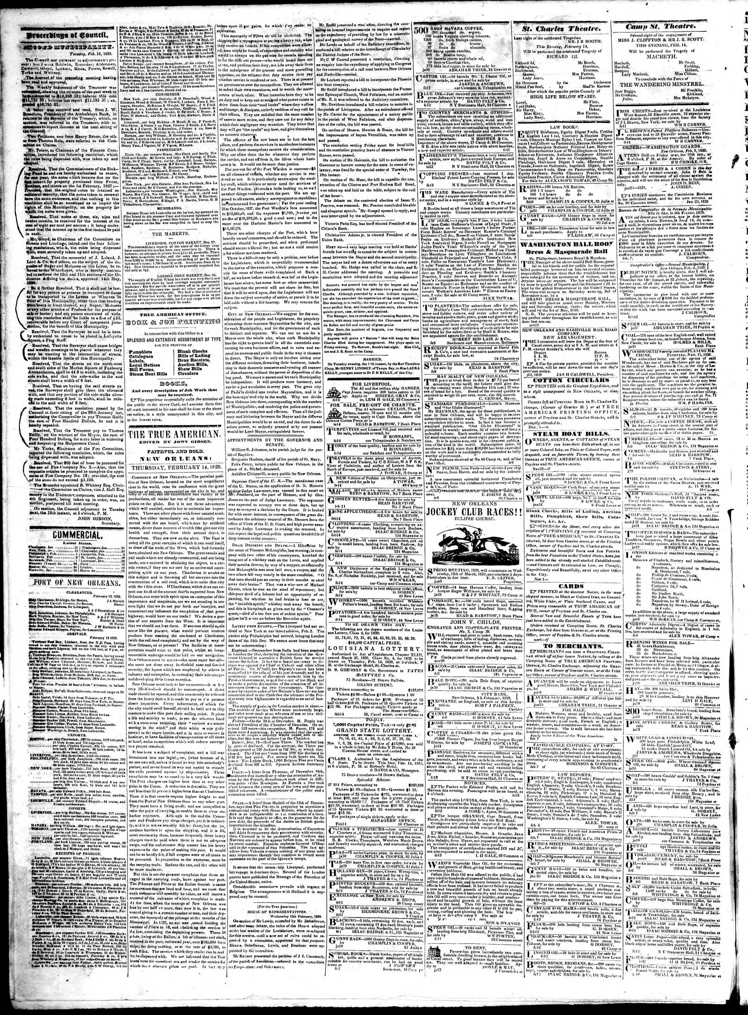 February 14, 1839 Tarihli True American Gazetesi Sayfa 2