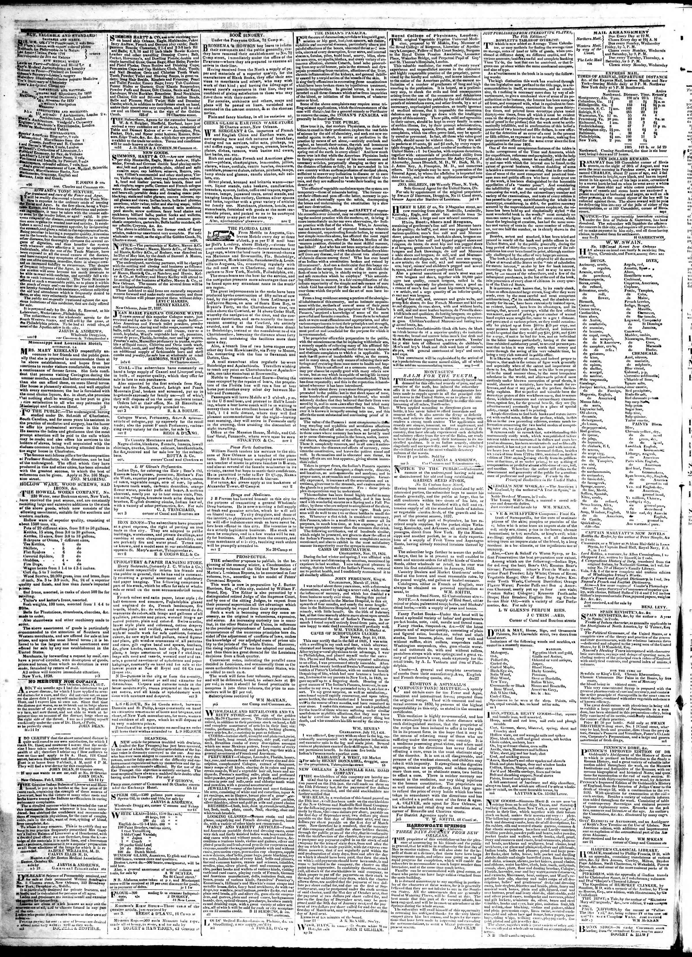February 14, 1839 Tarihli True American Gazetesi Sayfa 4