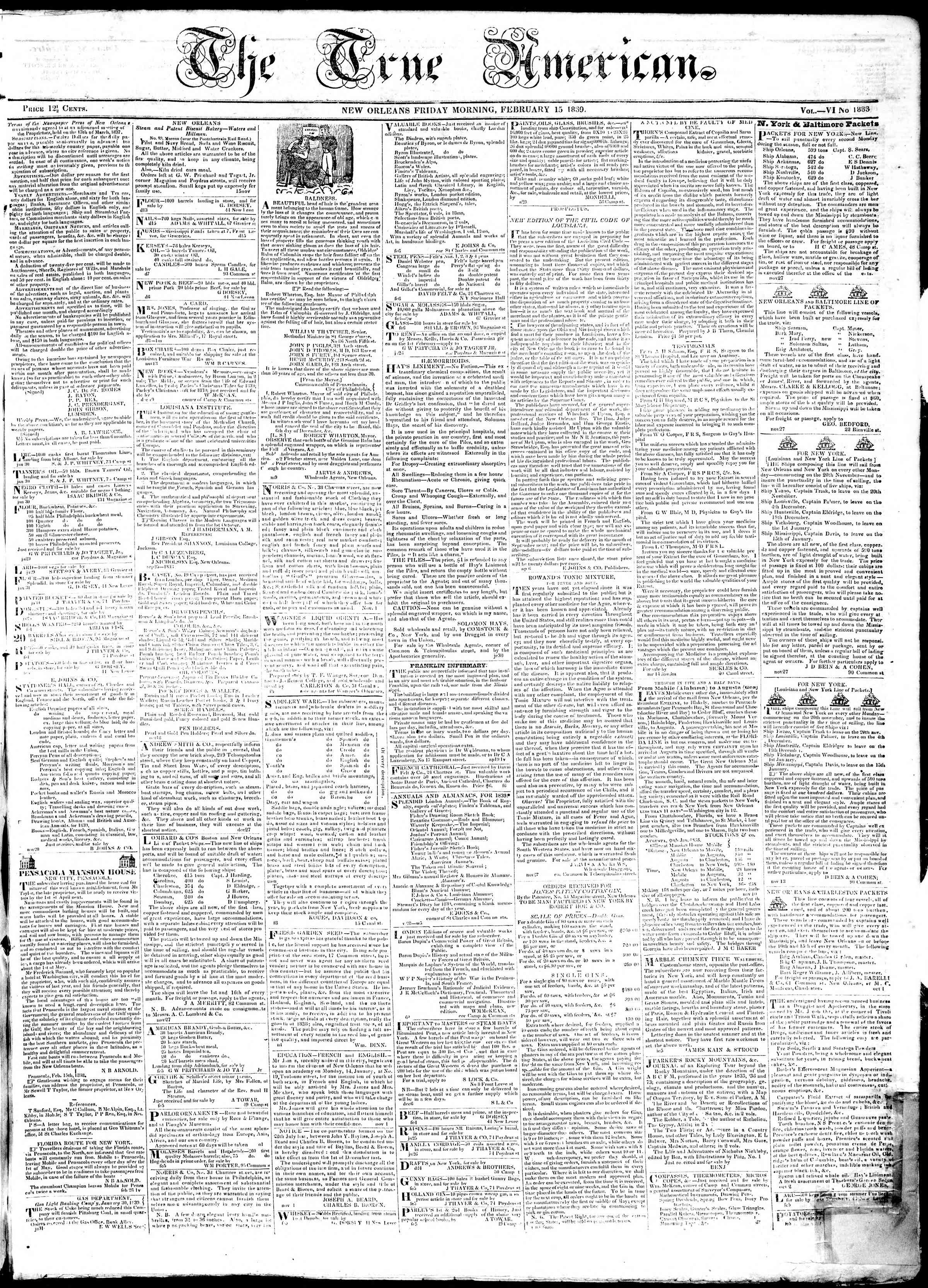 Newspaper of True American dated February 15, 1839 Page 1
