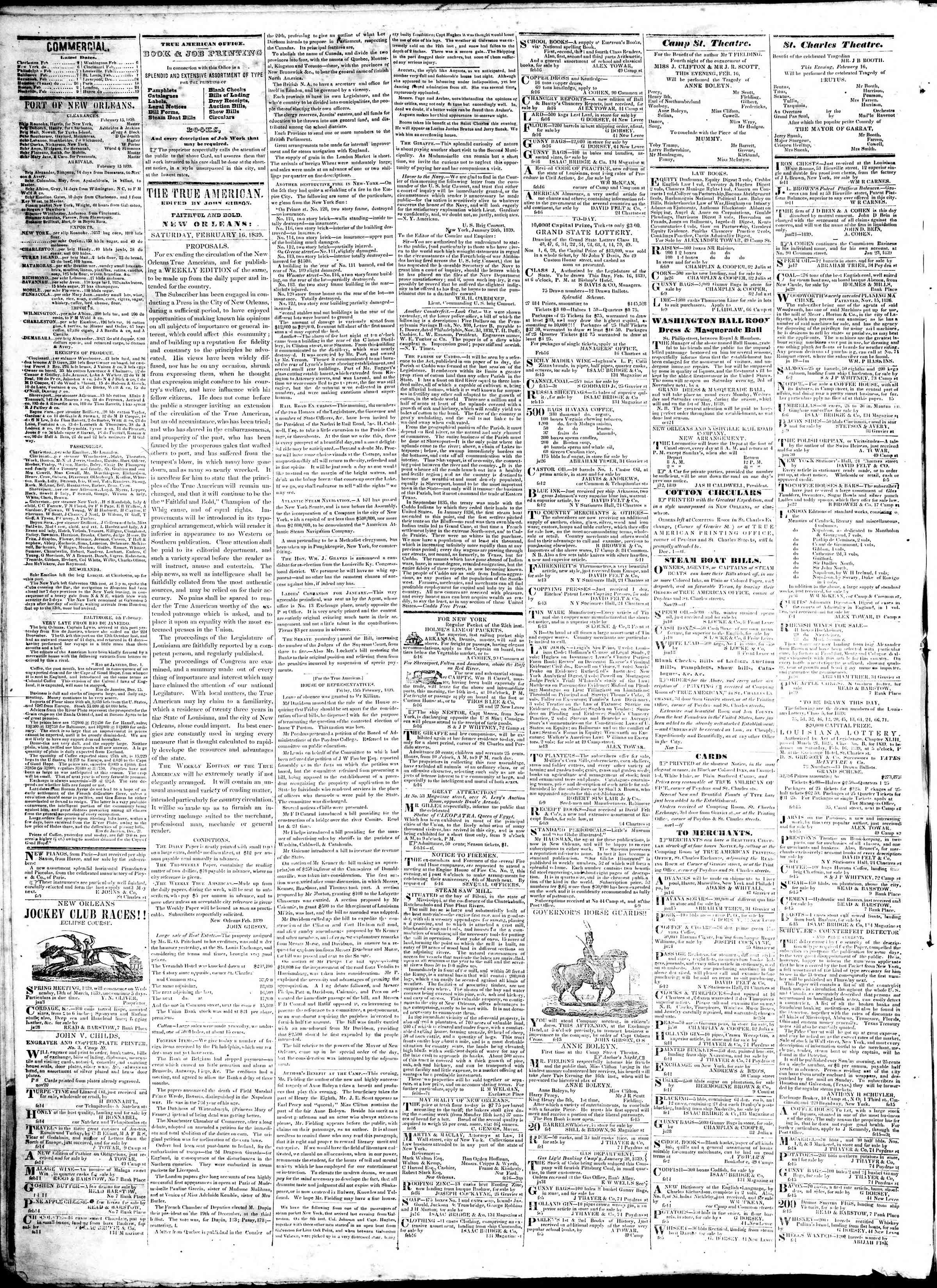 16 Şubat 1839 tarihli True American Gazetesi Sayfa 2