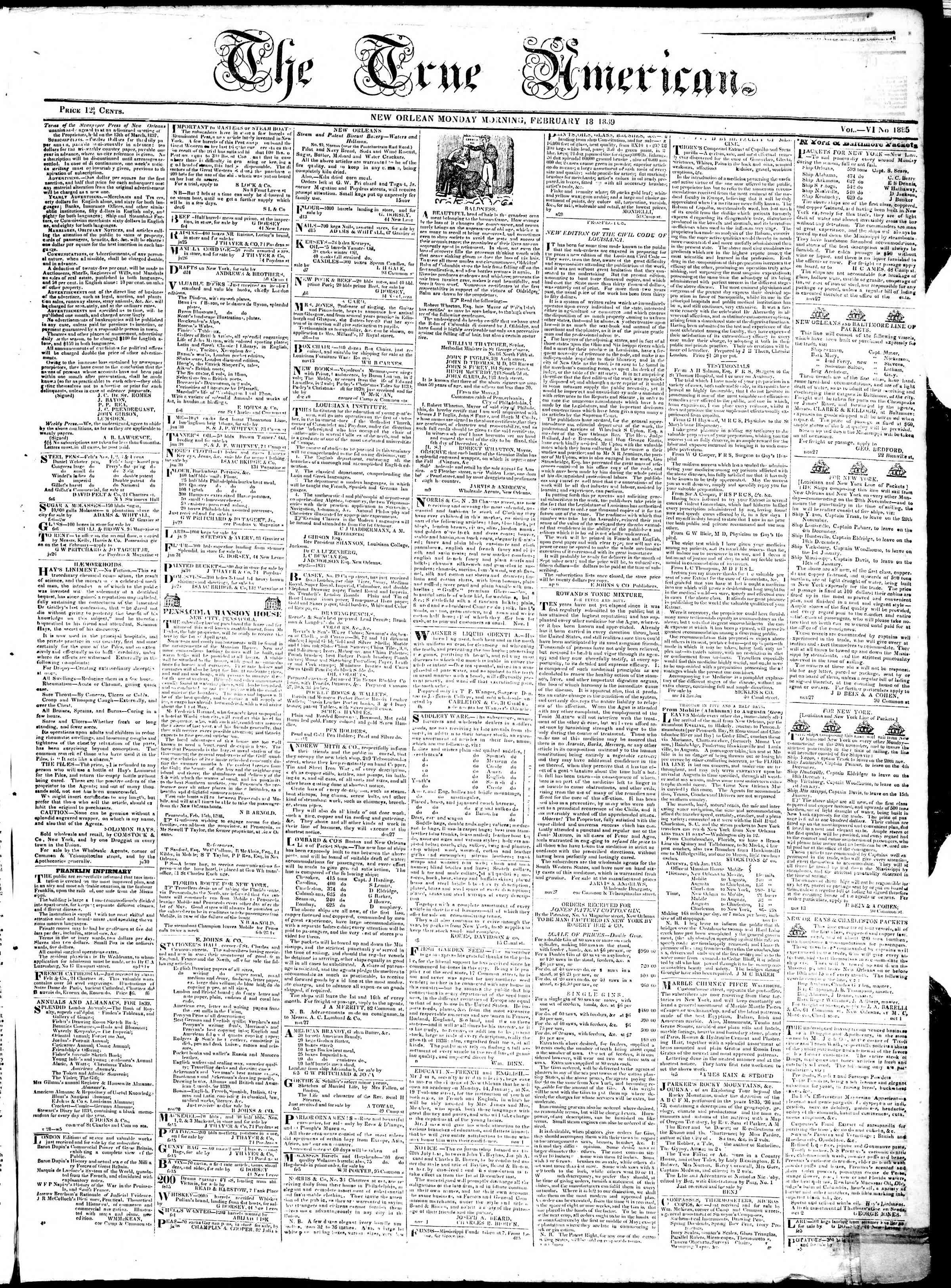 Newspaper of True American dated 18 Şubat 1839 Page 1