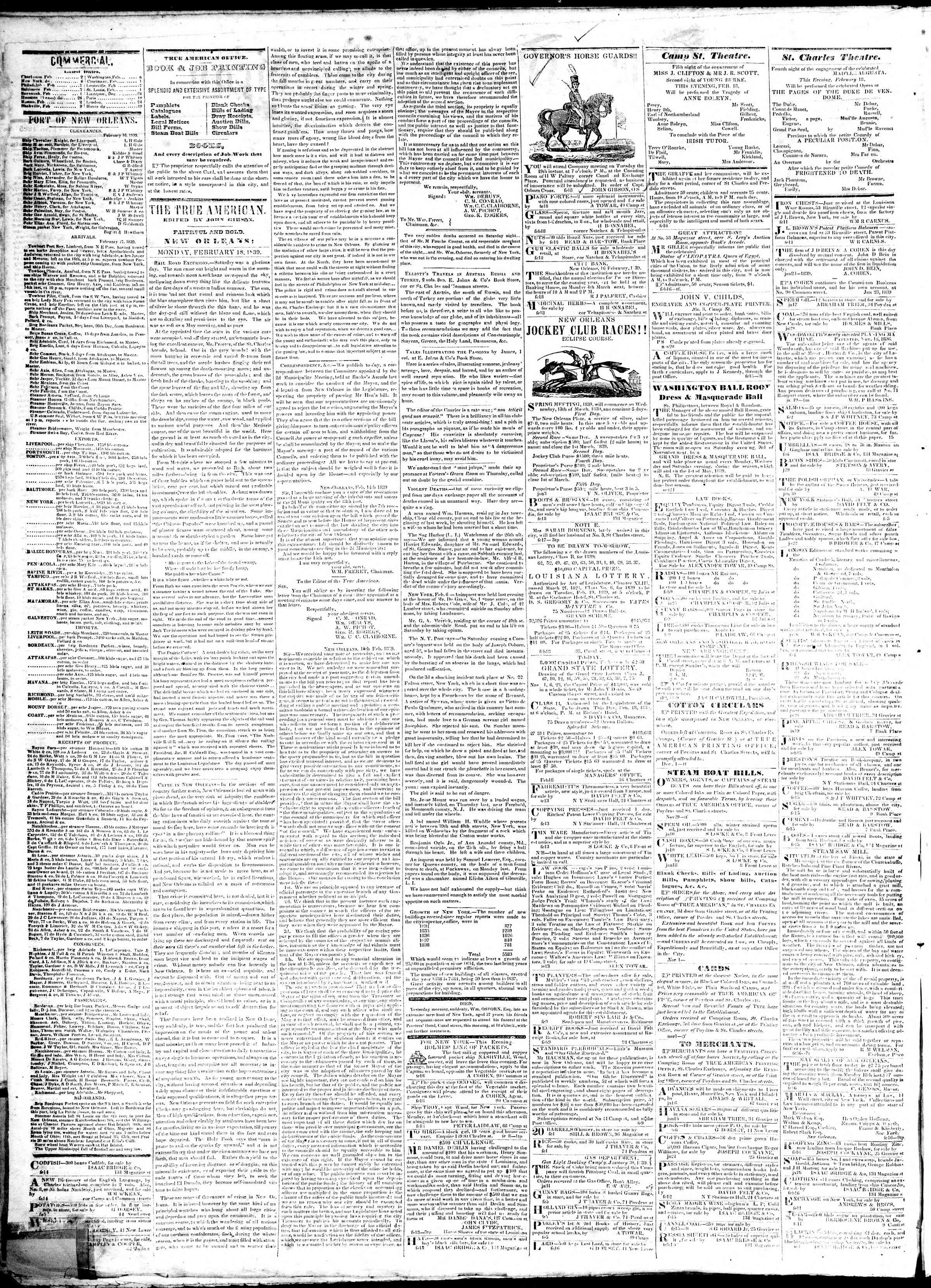 February 18, 1839 Tarihli True American Gazetesi Sayfa 2