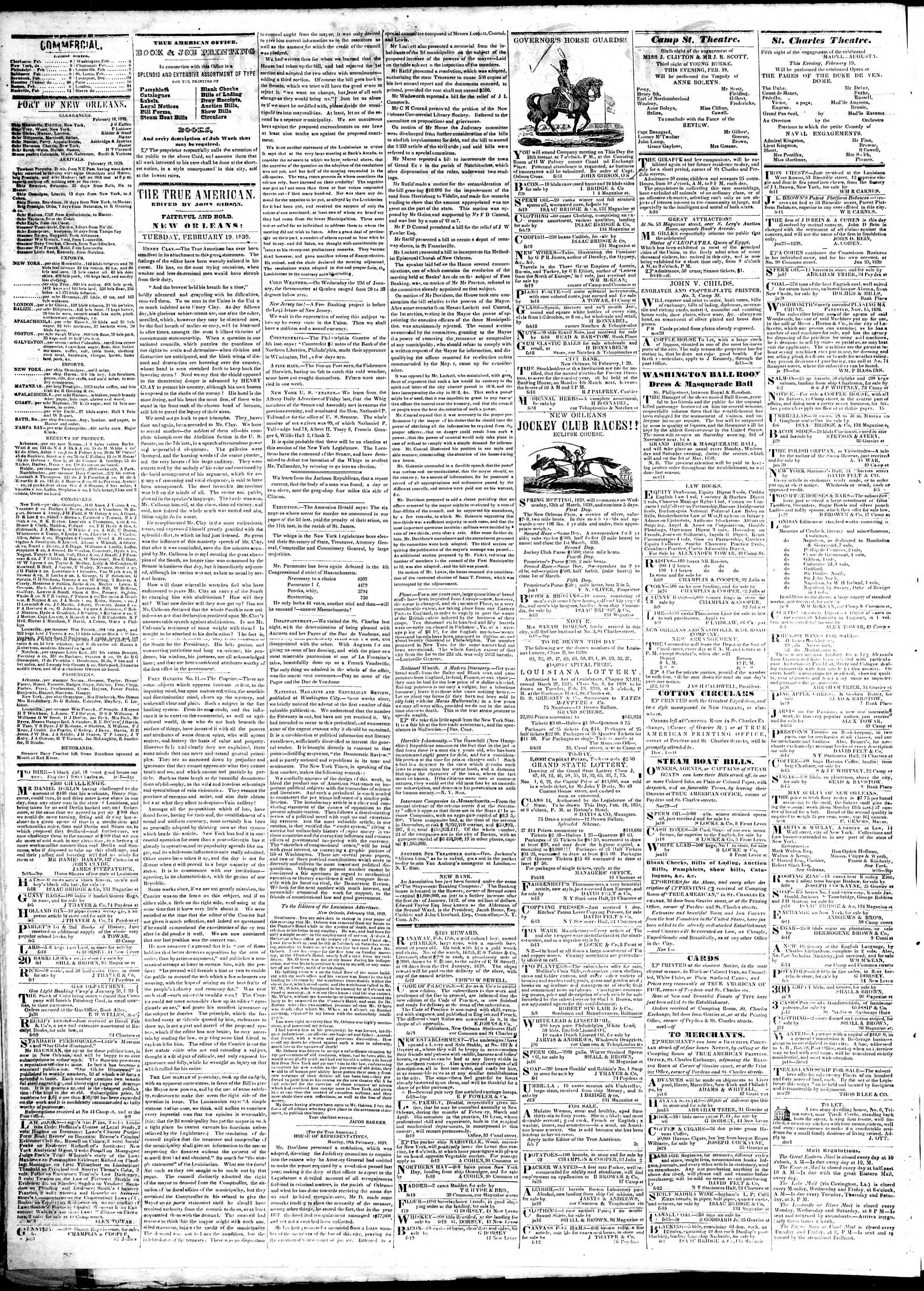 Newspaper of True American dated February 19, 1839 Page 2