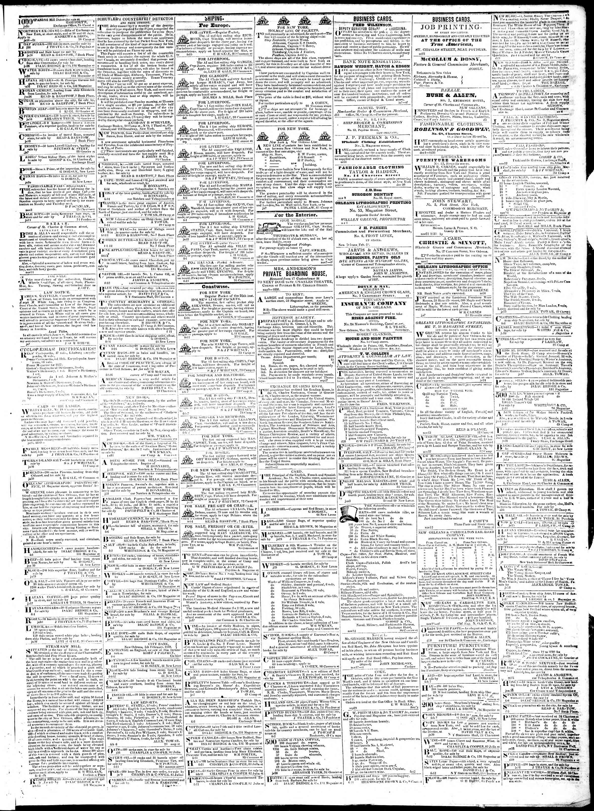 Newspaper of True American dated February 19, 1839 Page 3