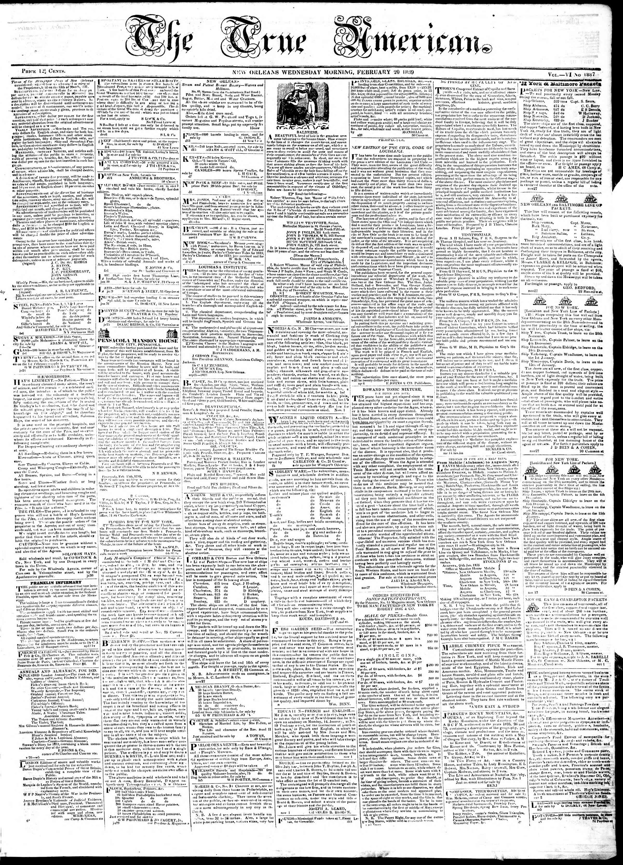 Newspaper of True American dated February 20, 1839 Page 1