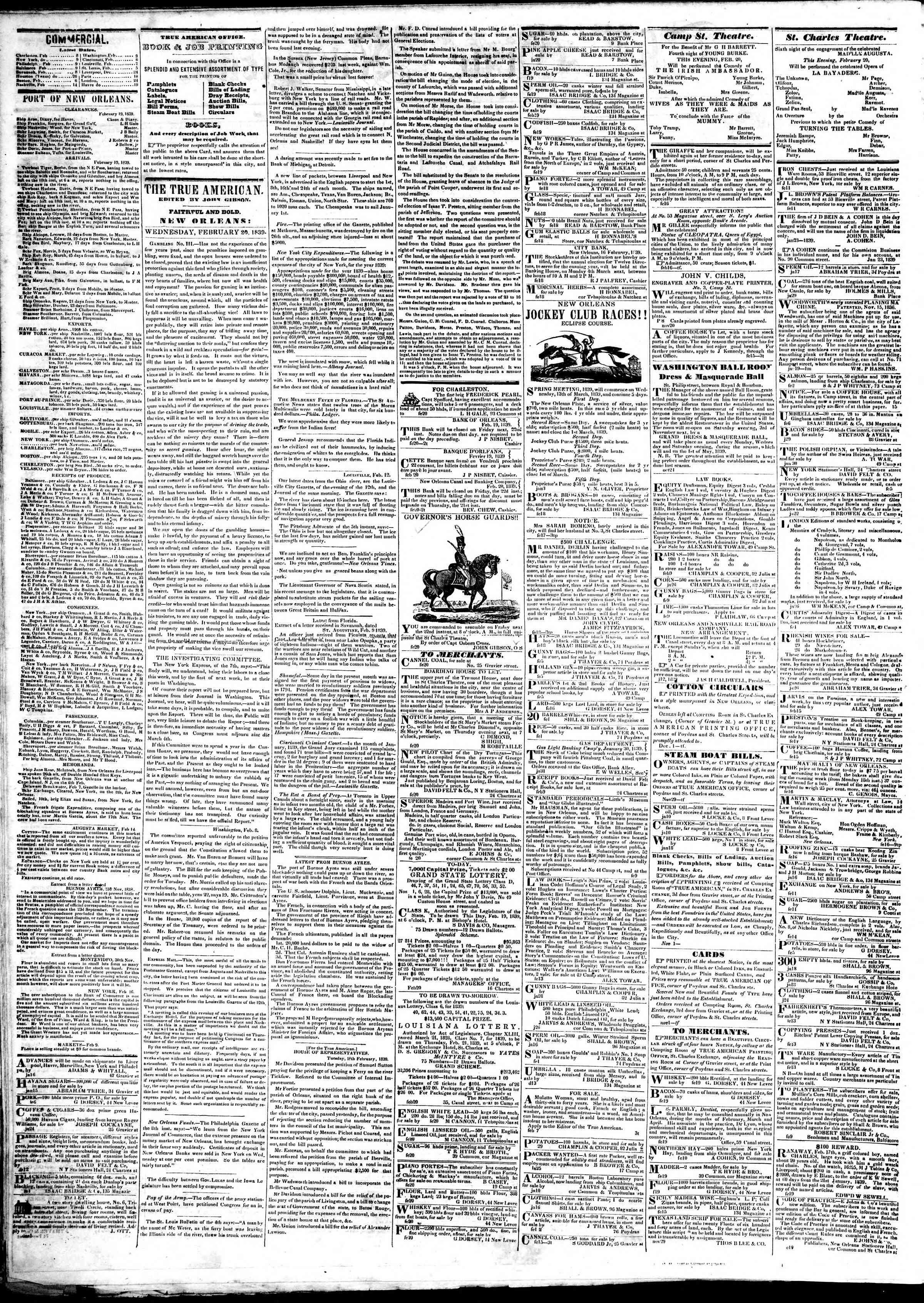 February 20, 1839 Tarihli True American Gazetesi Sayfa 2