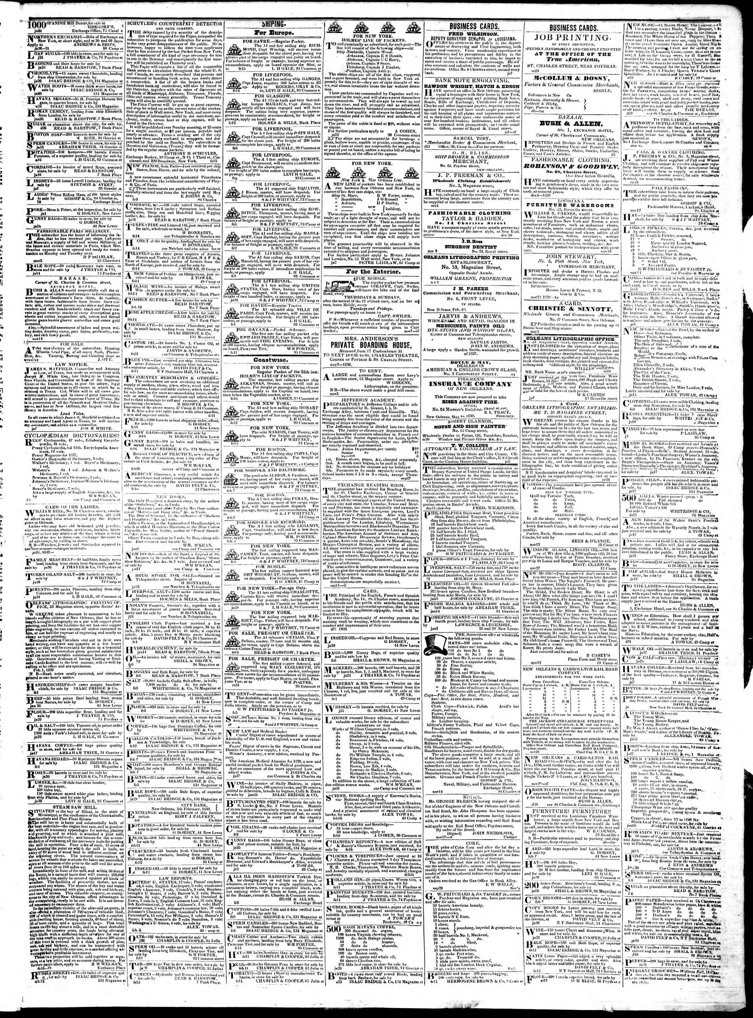 February 20, 1839 Tarihli True American Gazetesi Sayfa 3