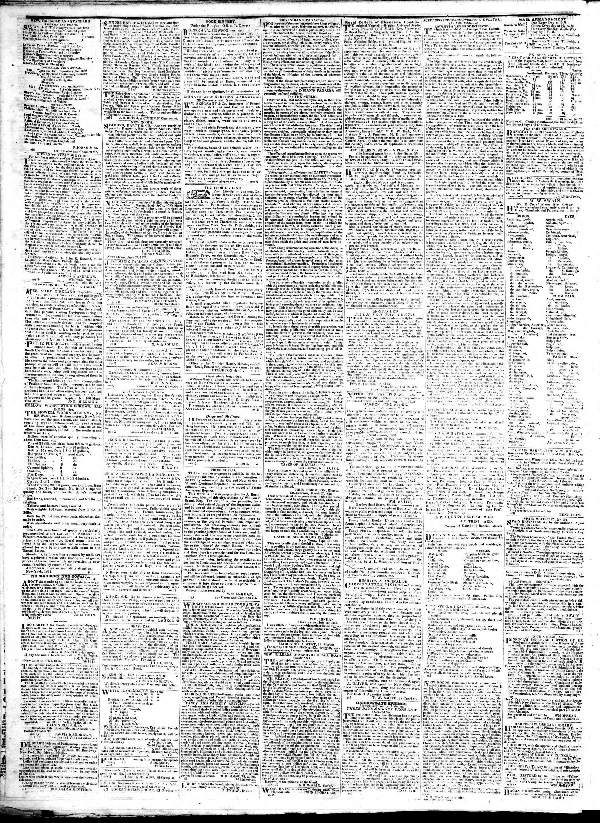 February 20, 1839 Tarihli True American Gazetesi Sayfa 4
