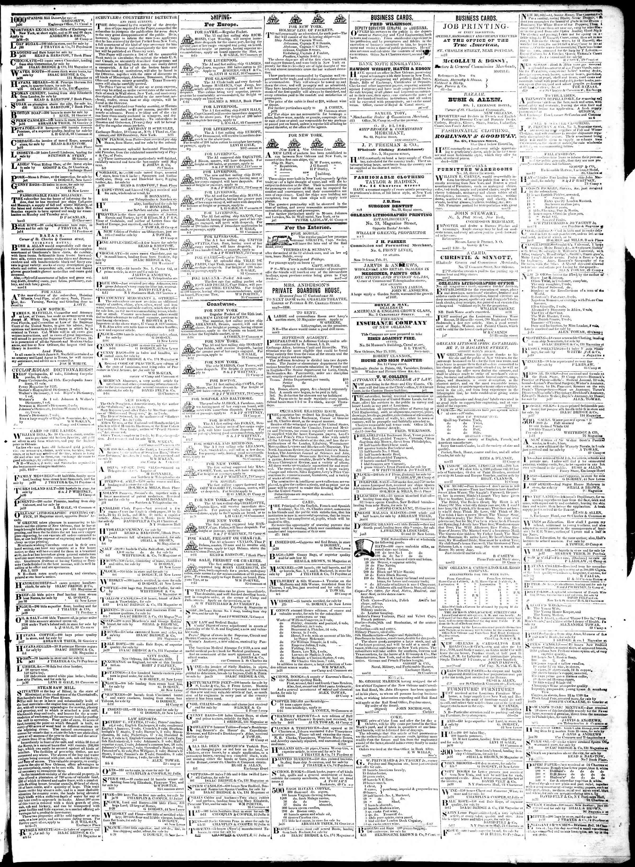 Newspaper of True American dated February 21, 1839 Page 3