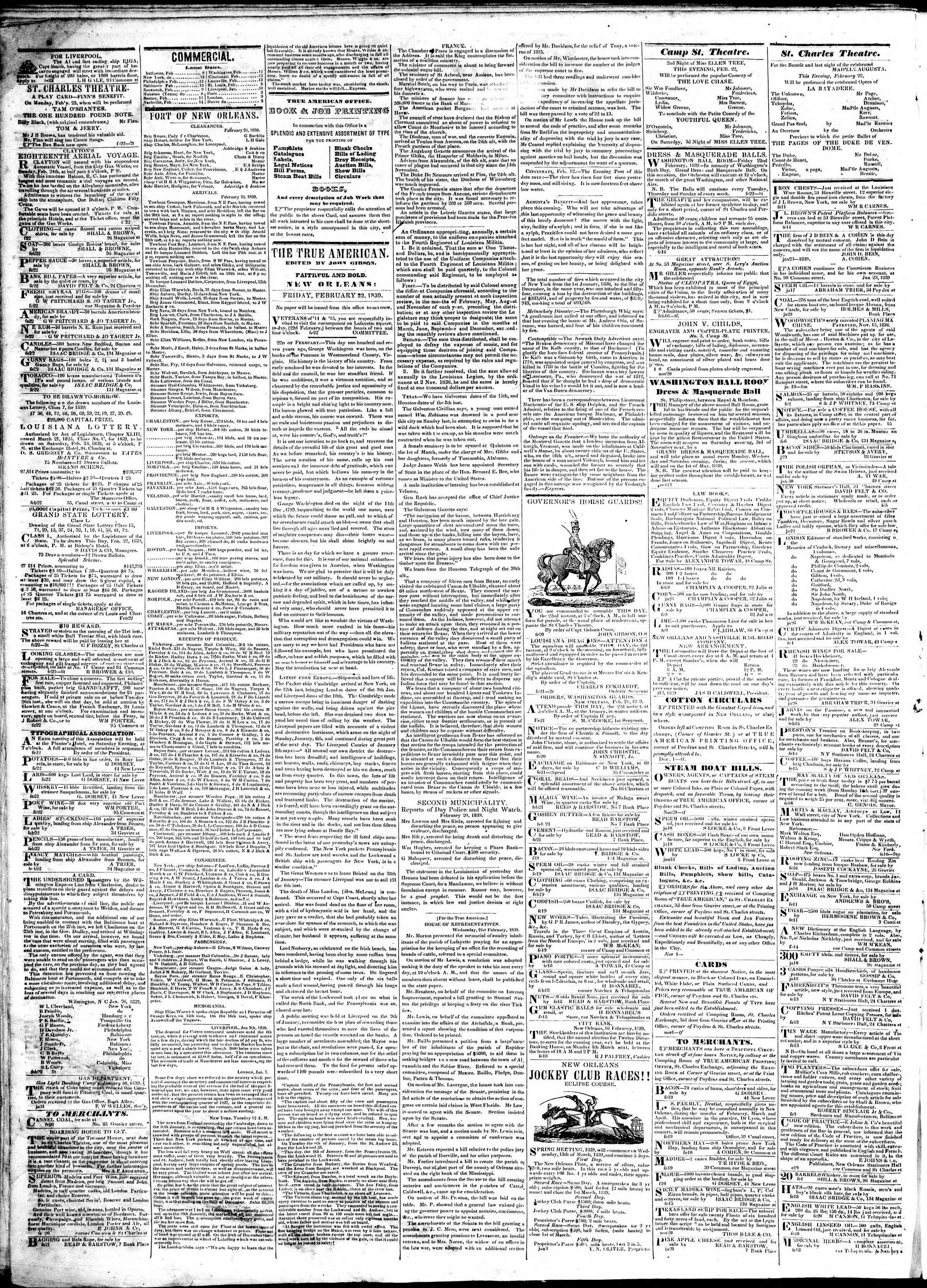 February 22, 1839 Tarihli True American Gazetesi Sayfa 2