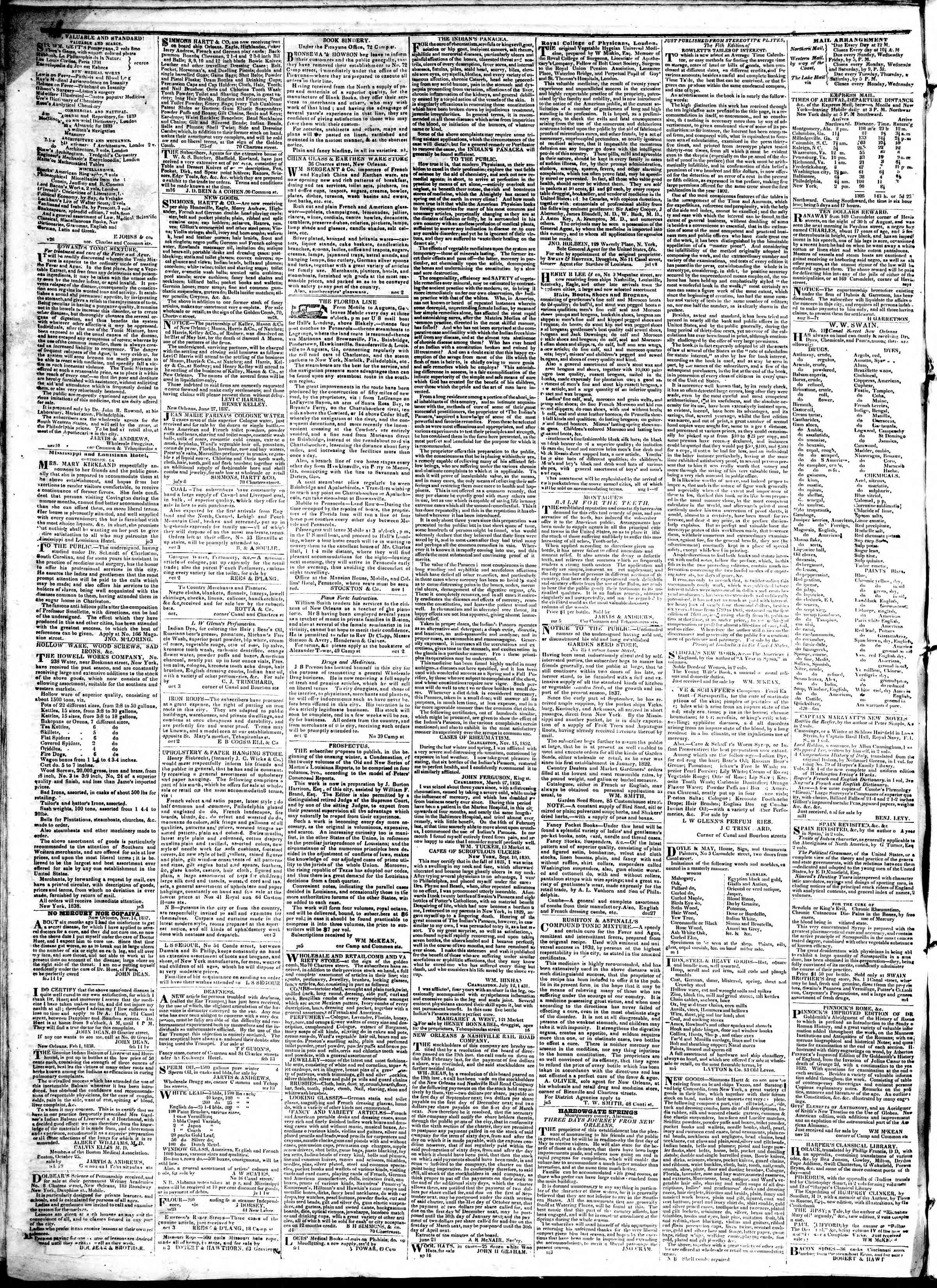 22 Şubat 1839 tarihli True American Gazetesi Sayfa 4