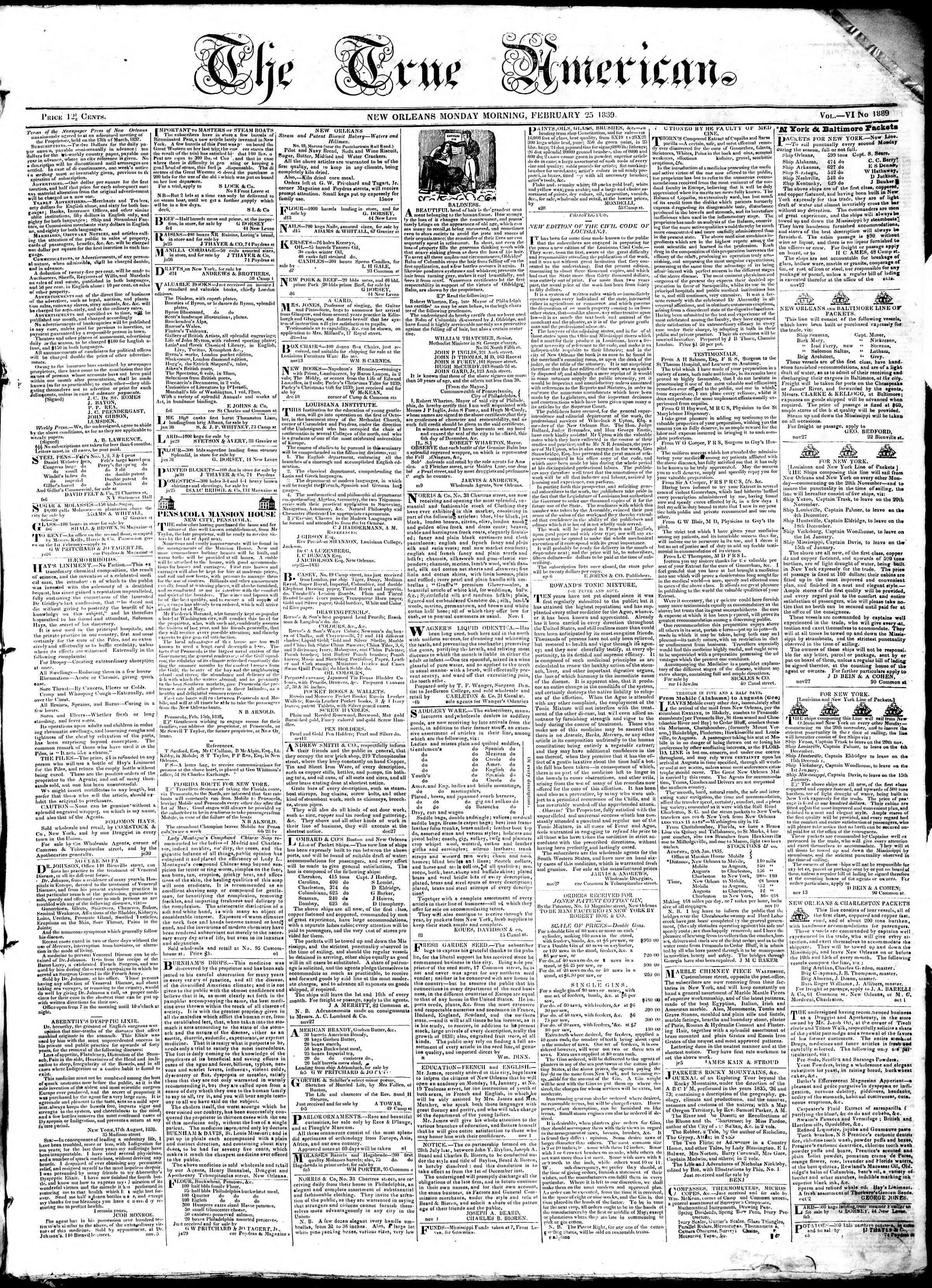 Newspaper of True American dated February 25, 1839 Page 1
