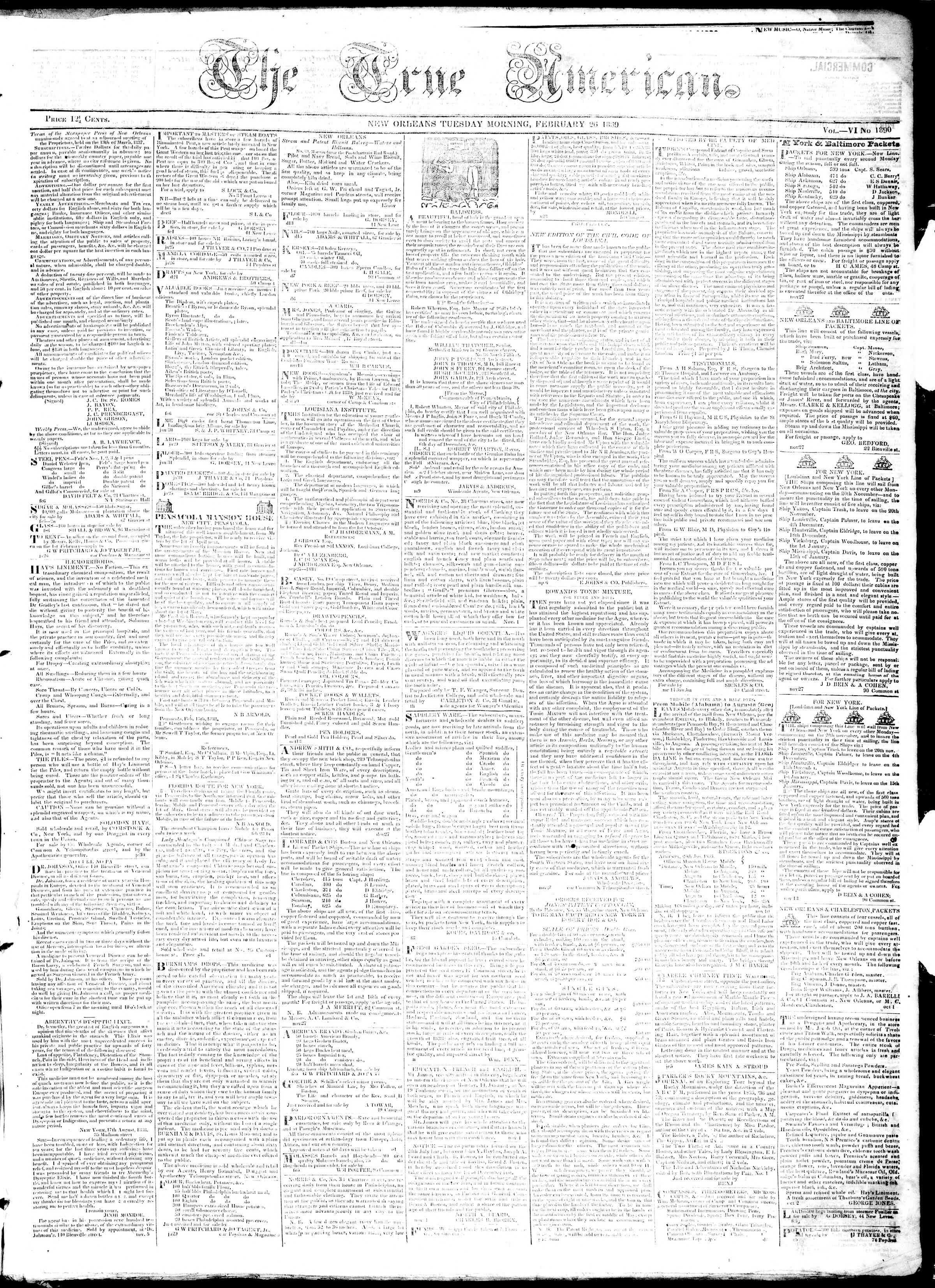 February 26, 1839 Tarihli True American Gazetesi Sayfa 1