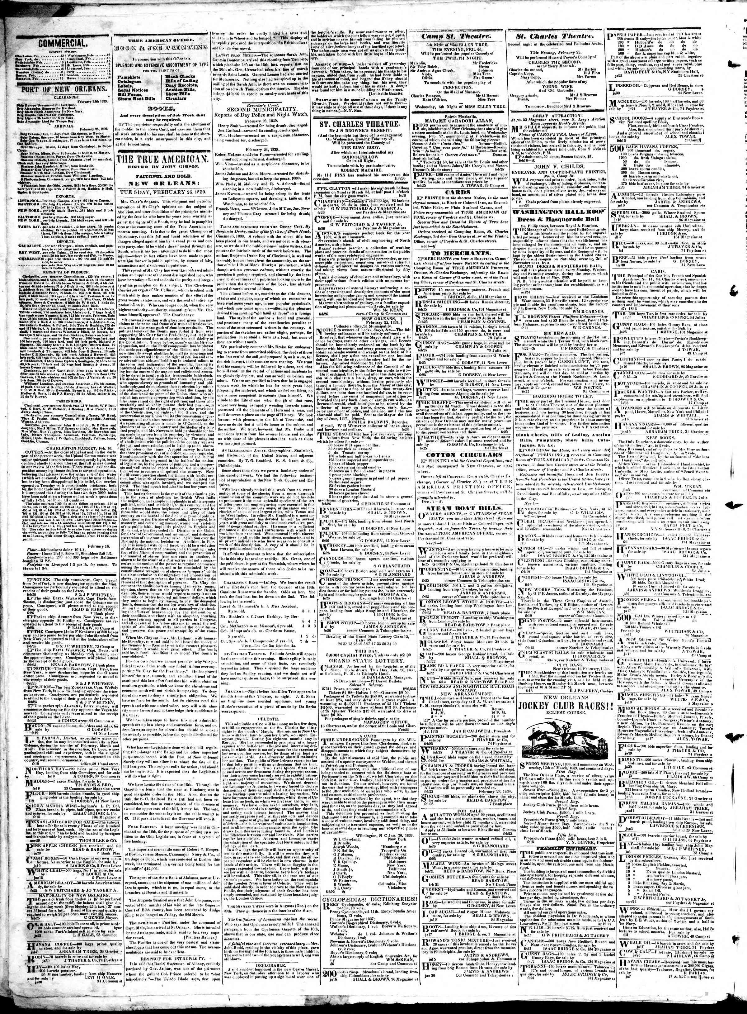 February 26, 1839 Tarihli True American Gazetesi Sayfa 2
