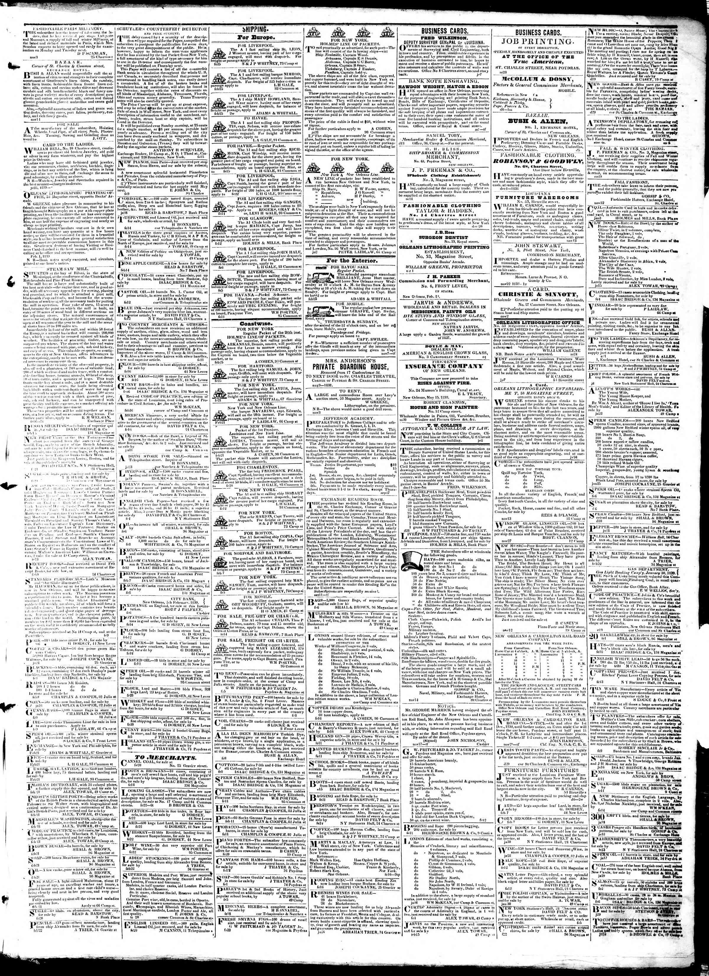 February 26, 1839 Tarihli True American Gazetesi Sayfa 3