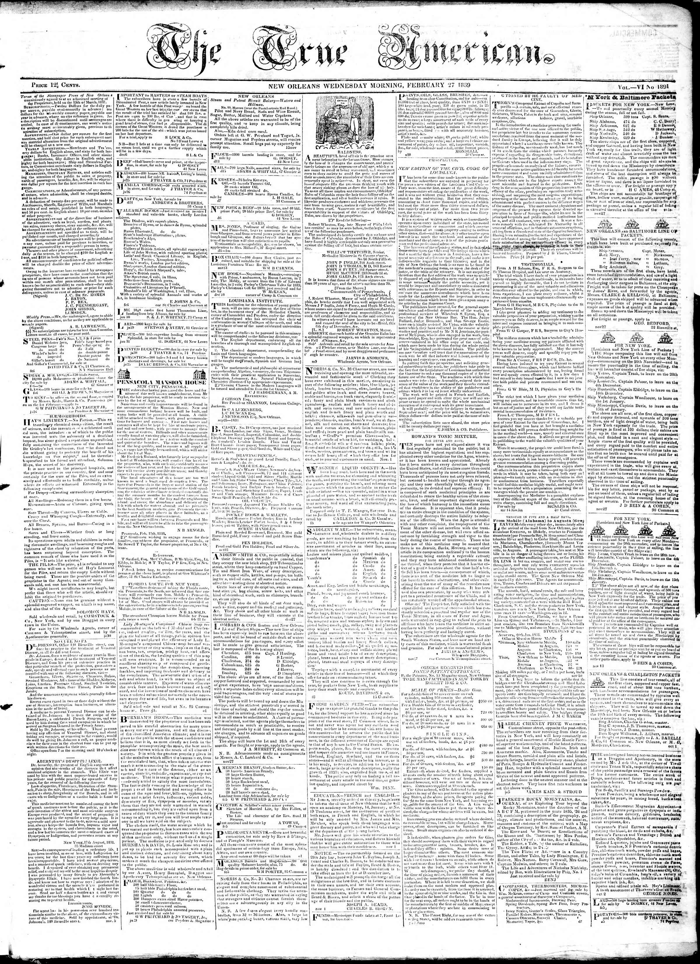 Newspaper of True American dated February 27, 1839 Page 1