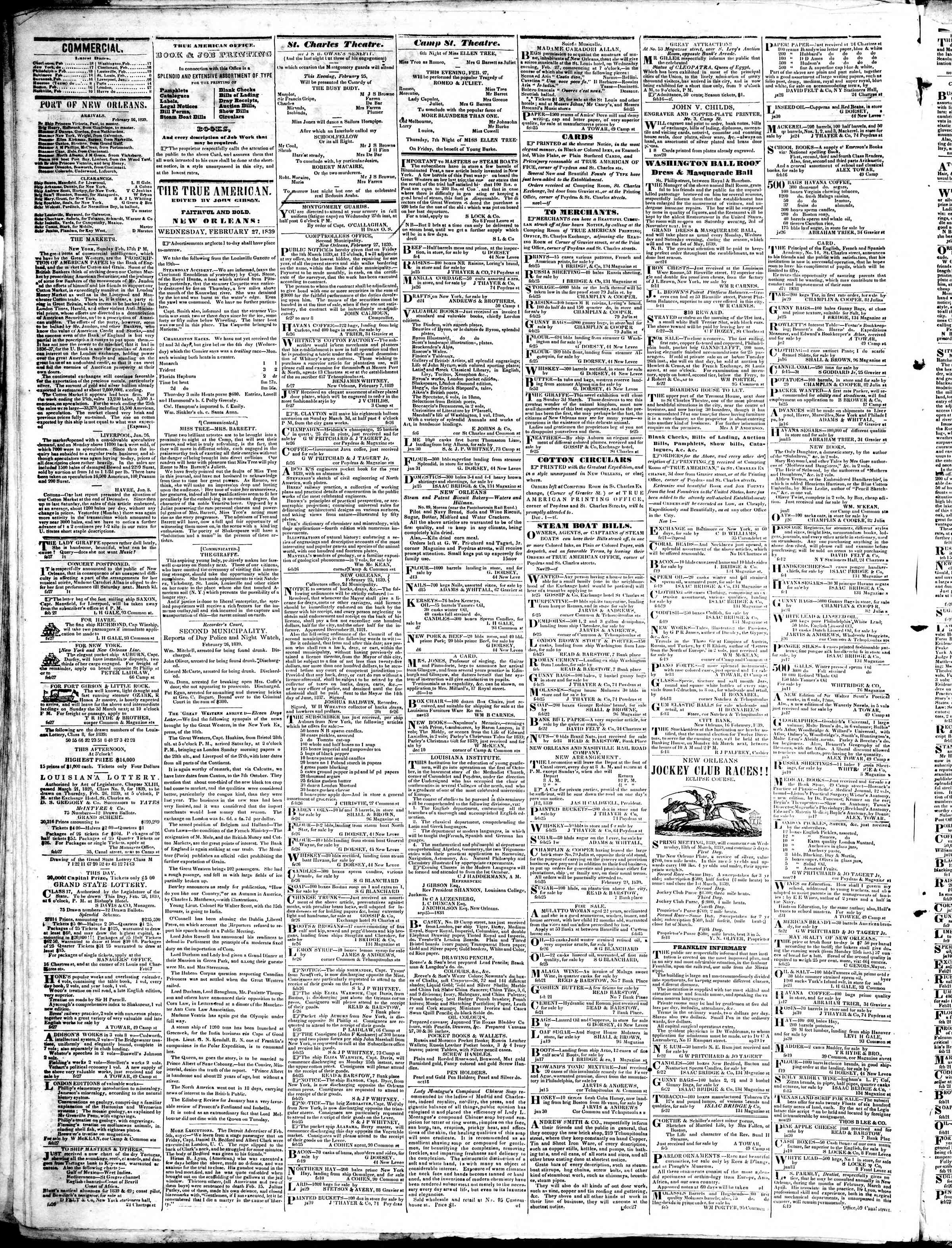 February 27, 1839 Tarihli True American Gazetesi Sayfa 2