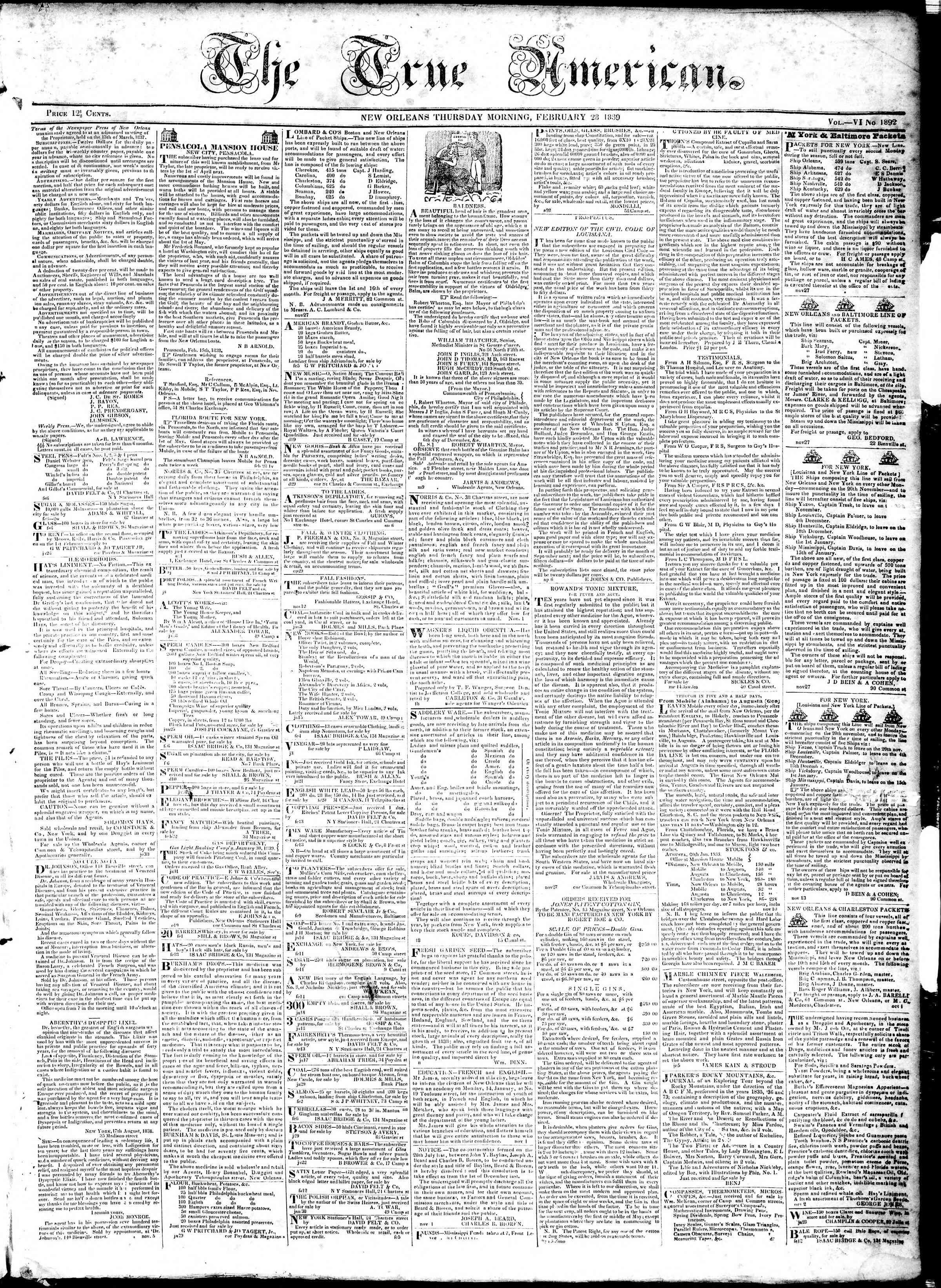 February 28, 1839 Tarihli True American Gazetesi Sayfa 1