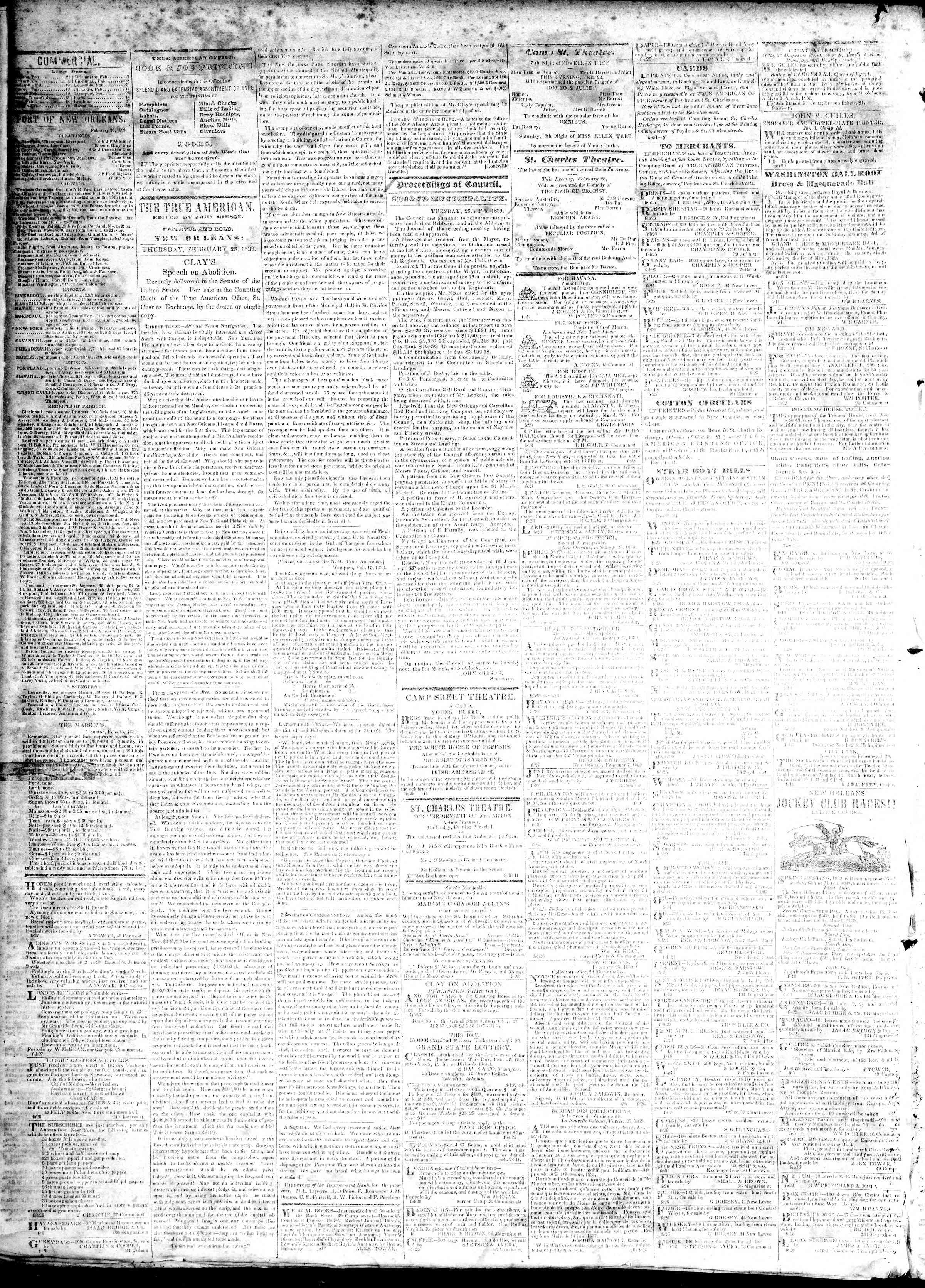 February 28, 1839 Tarihli True American Gazetesi Sayfa 2
