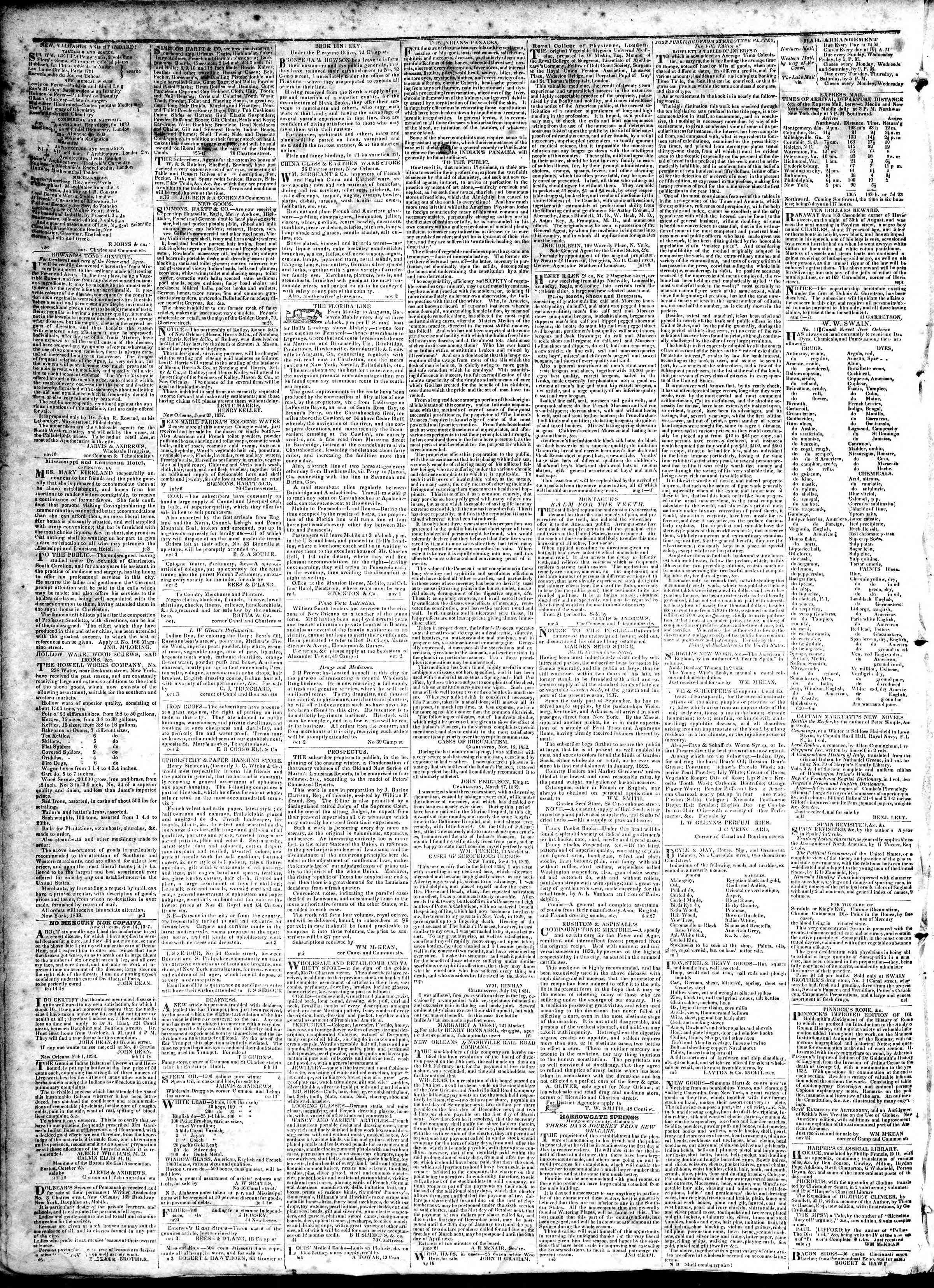February 28, 1839 Tarihli True American Gazetesi Sayfa 4