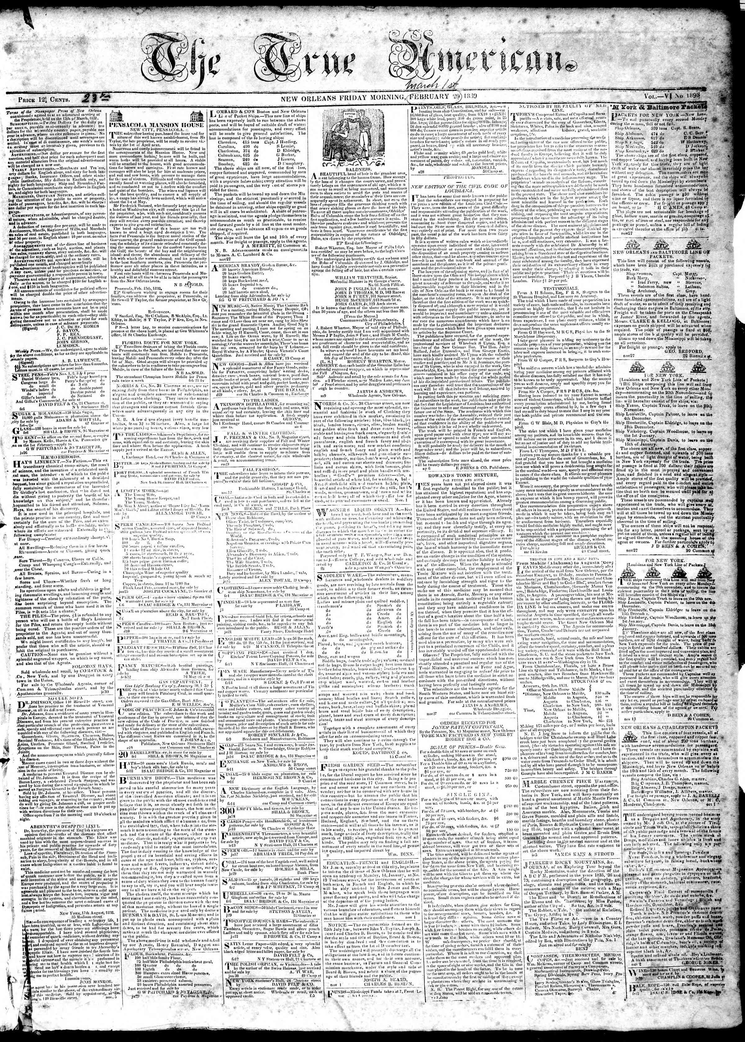 March 1, 1839 Tarihli True American Gazetesi Sayfa 1