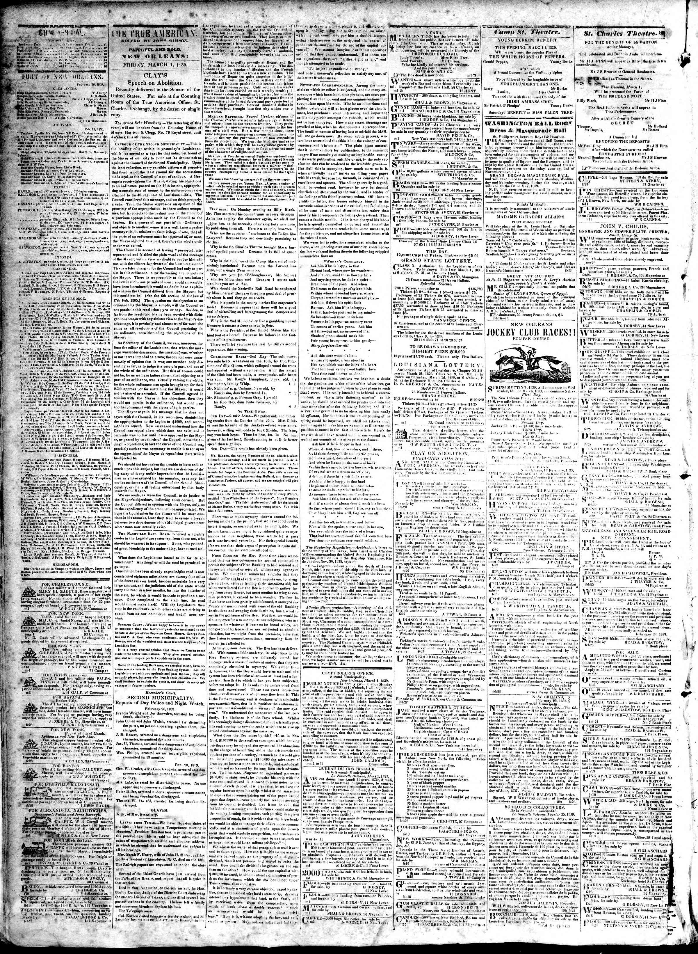 Newspaper of True American dated March 1, 1839 Page 2