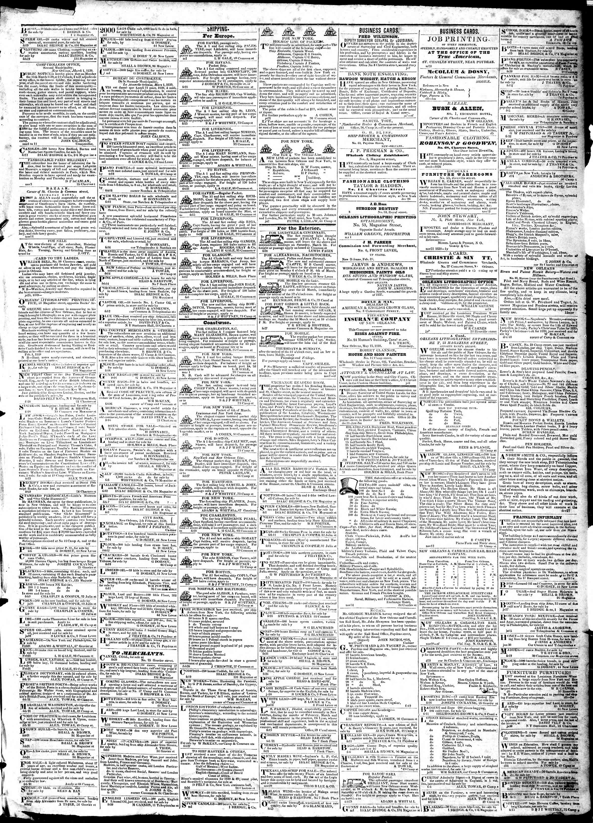 Newspaper of True American dated March 2, 1839 Page 3