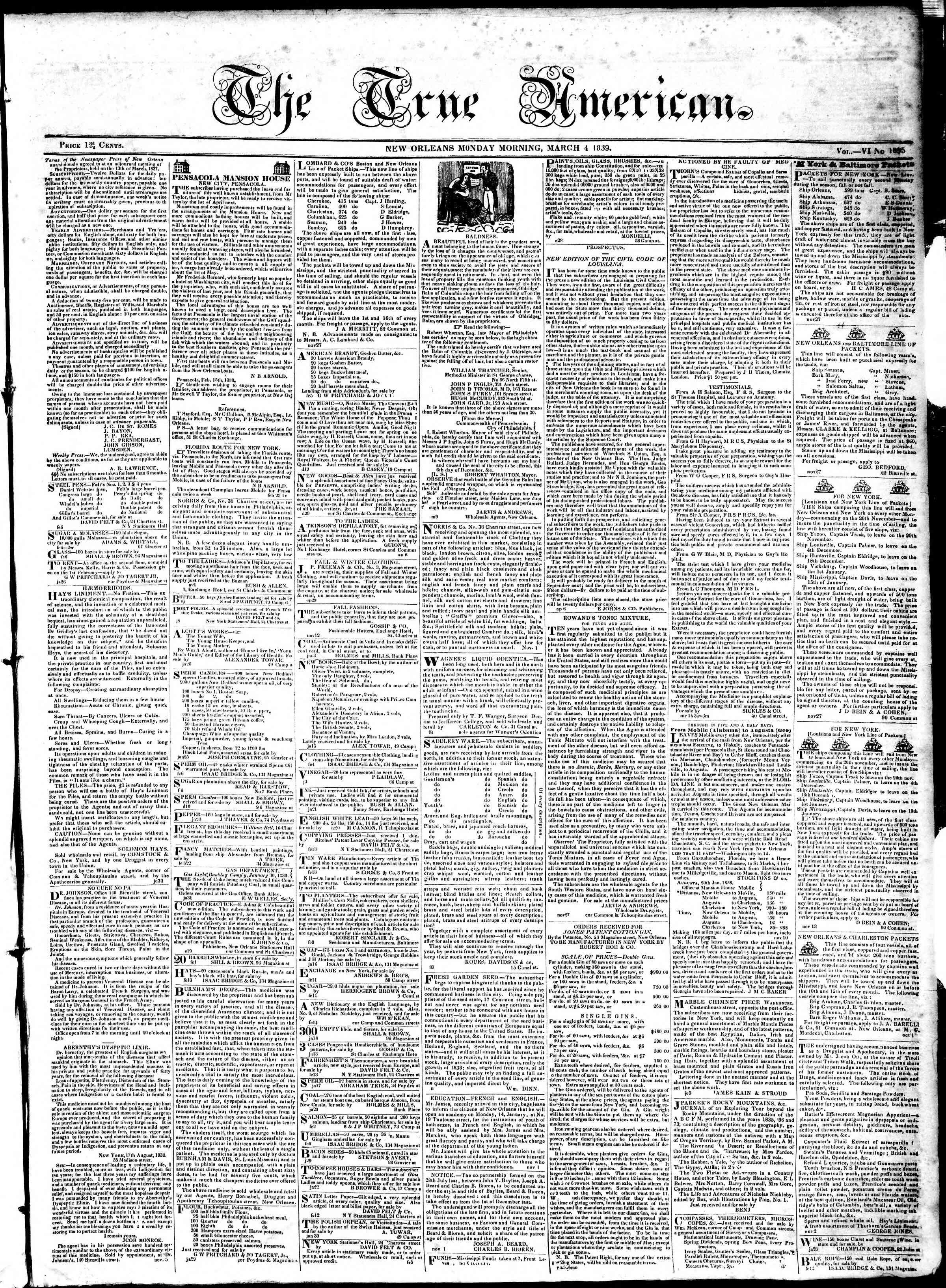 March 4, 1839 Tarihli True American Gazetesi Sayfa 1