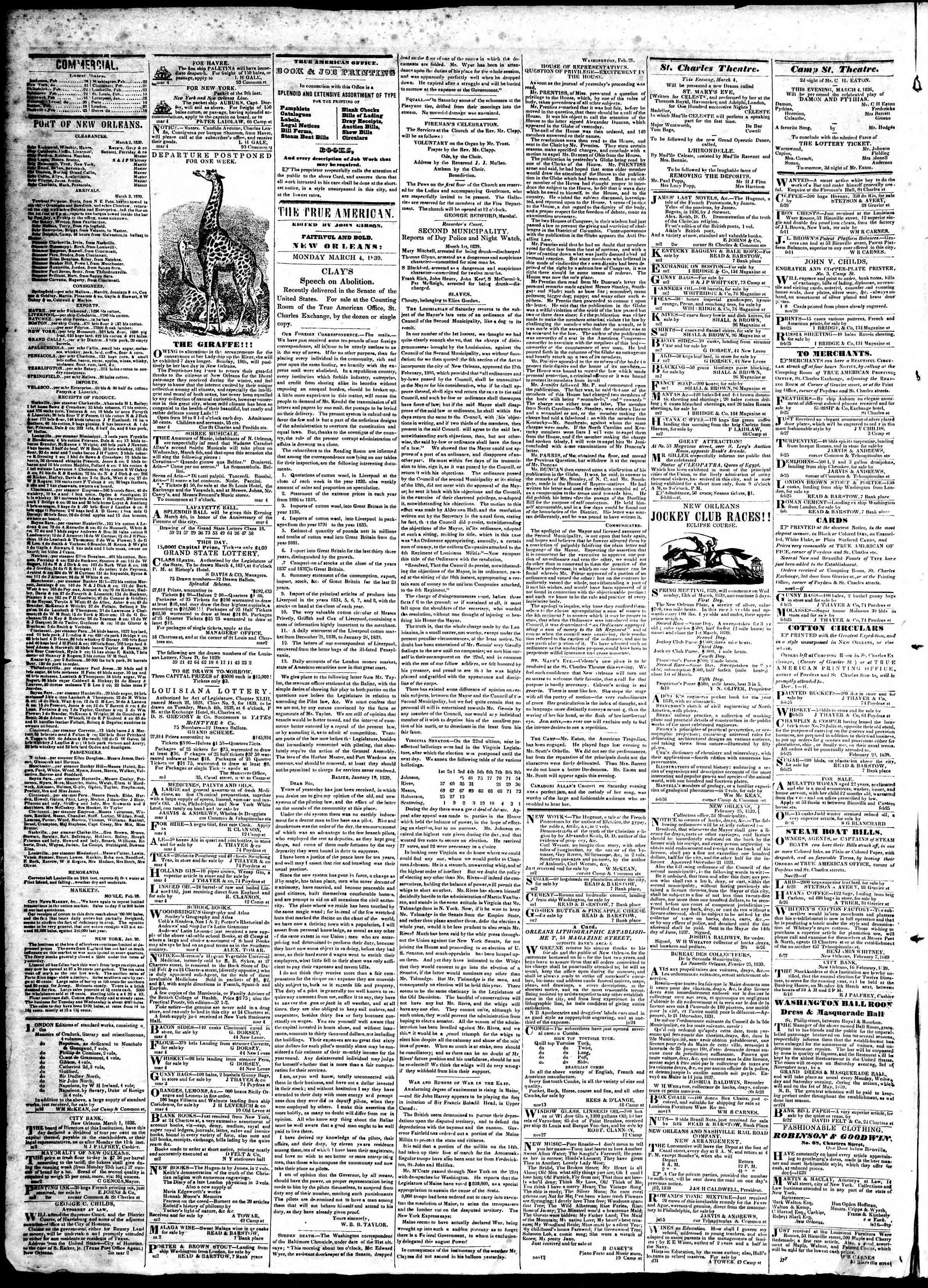 March 4, 1839 Tarihli True American Gazetesi Sayfa 2