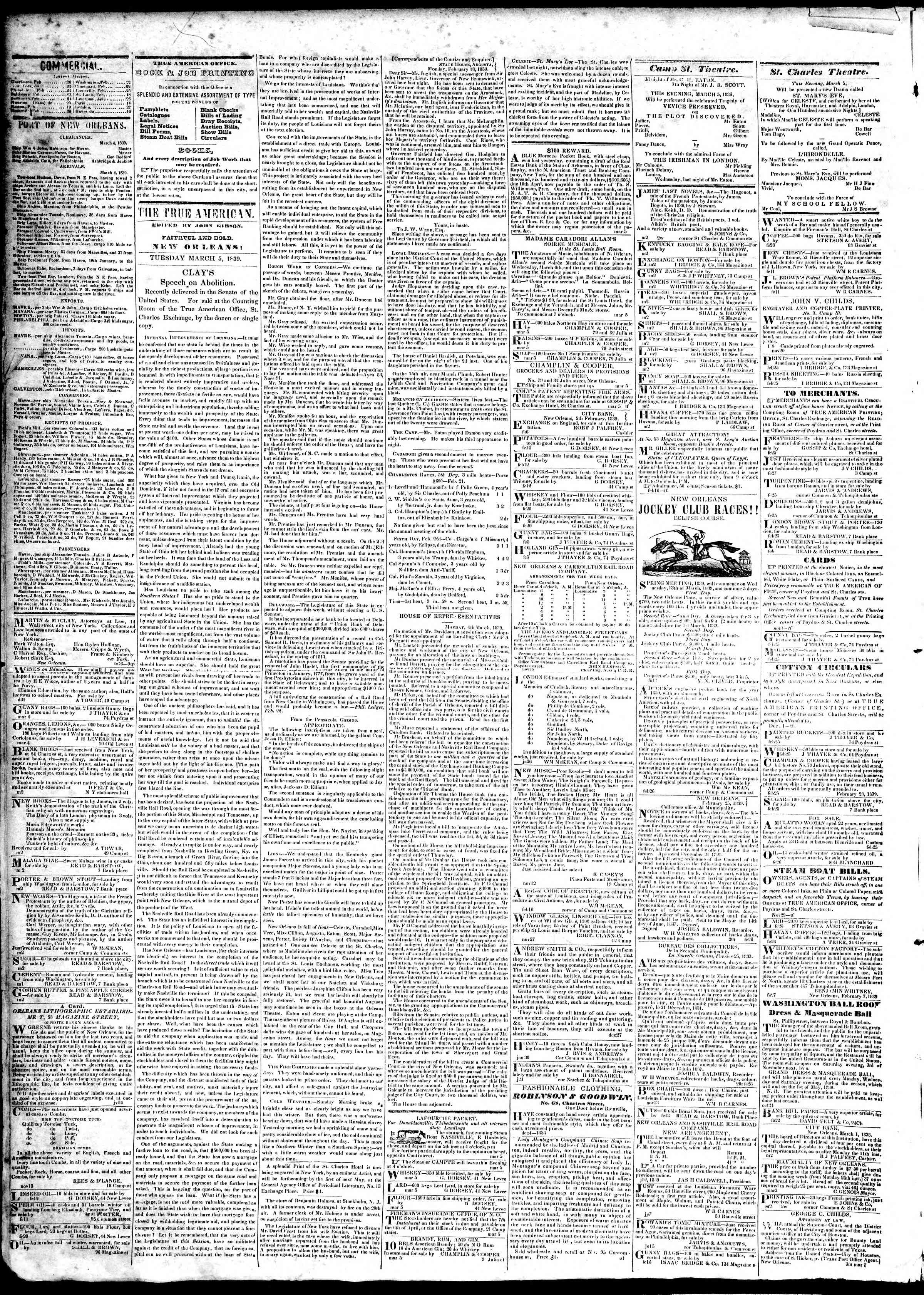 Newspaper of True American dated March 5, 1839 Page 2