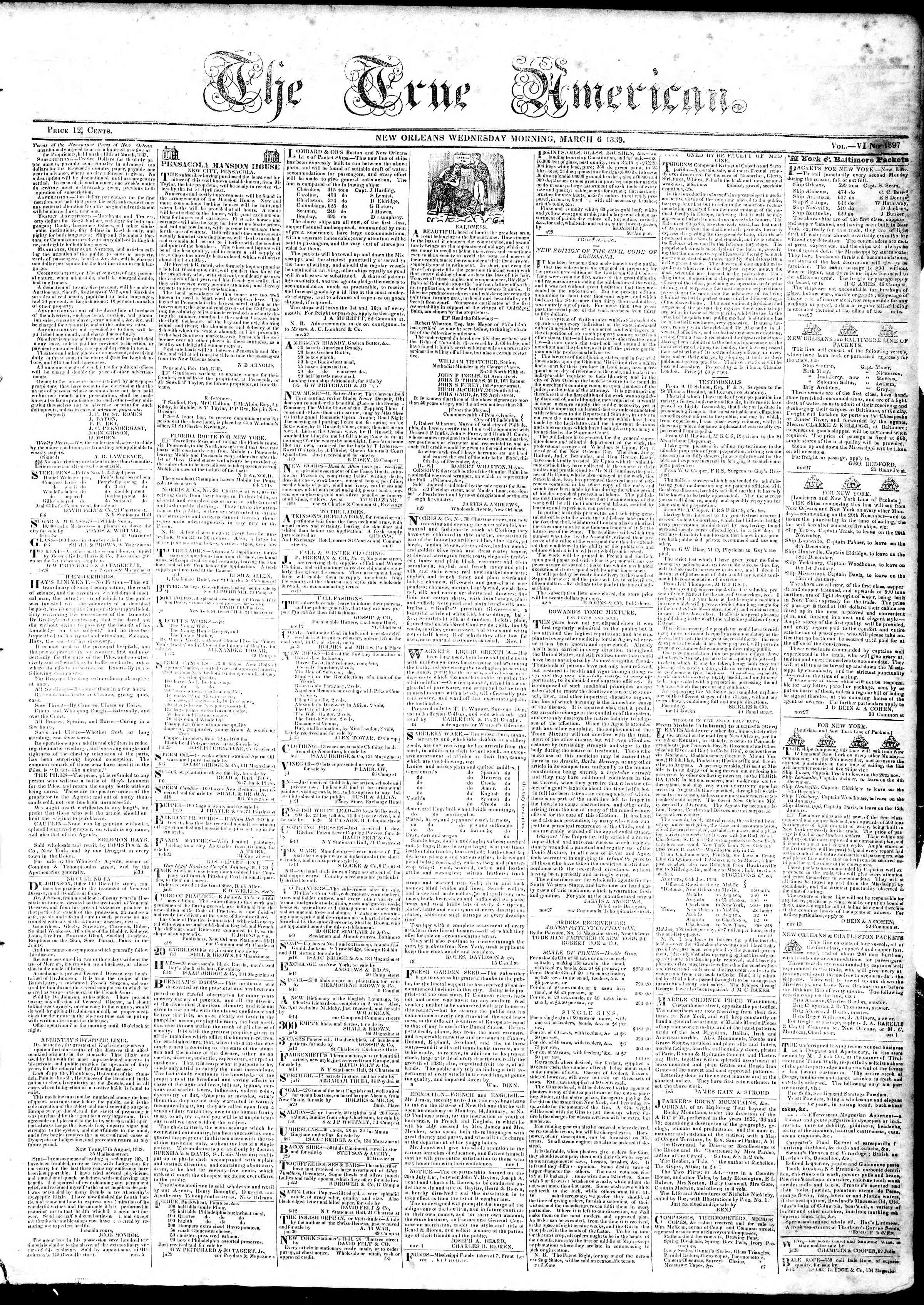Newspaper of True American dated March 6, 1839 Page 1