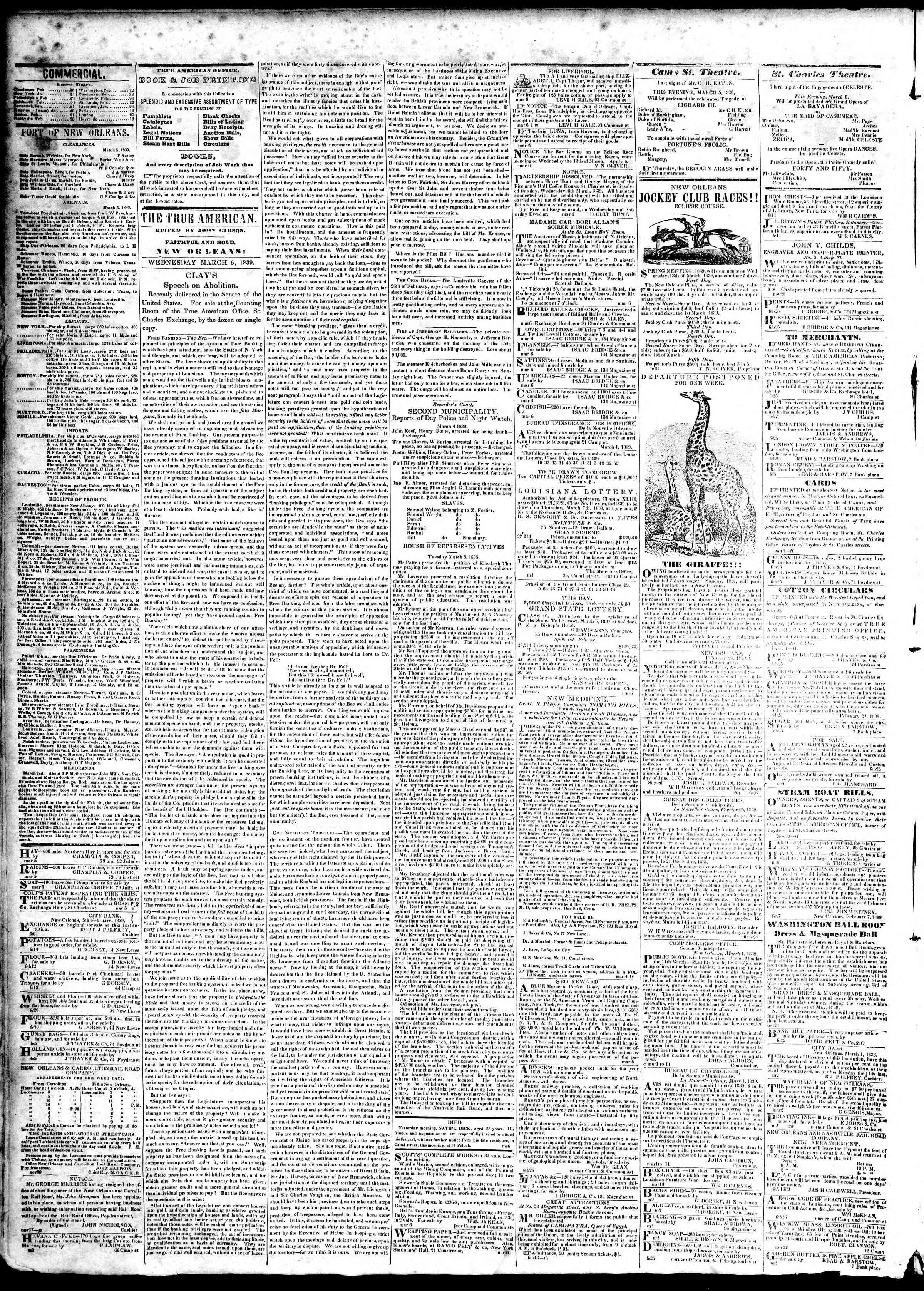 March 6, 1839 Tarihli True American Gazetesi Sayfa 2
