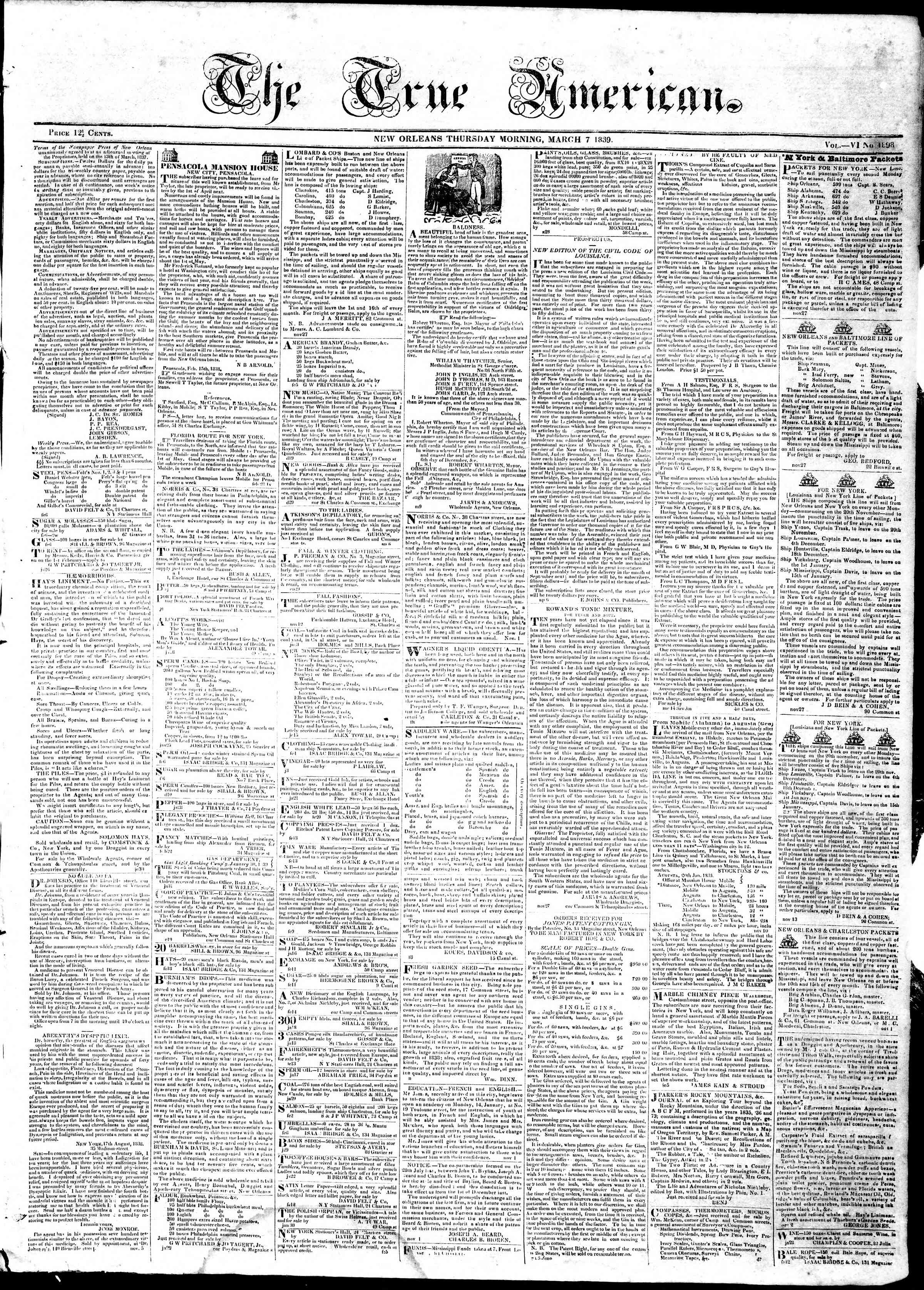 7 Mart 1839 tarihli True American Gazetesi Sayfa 1