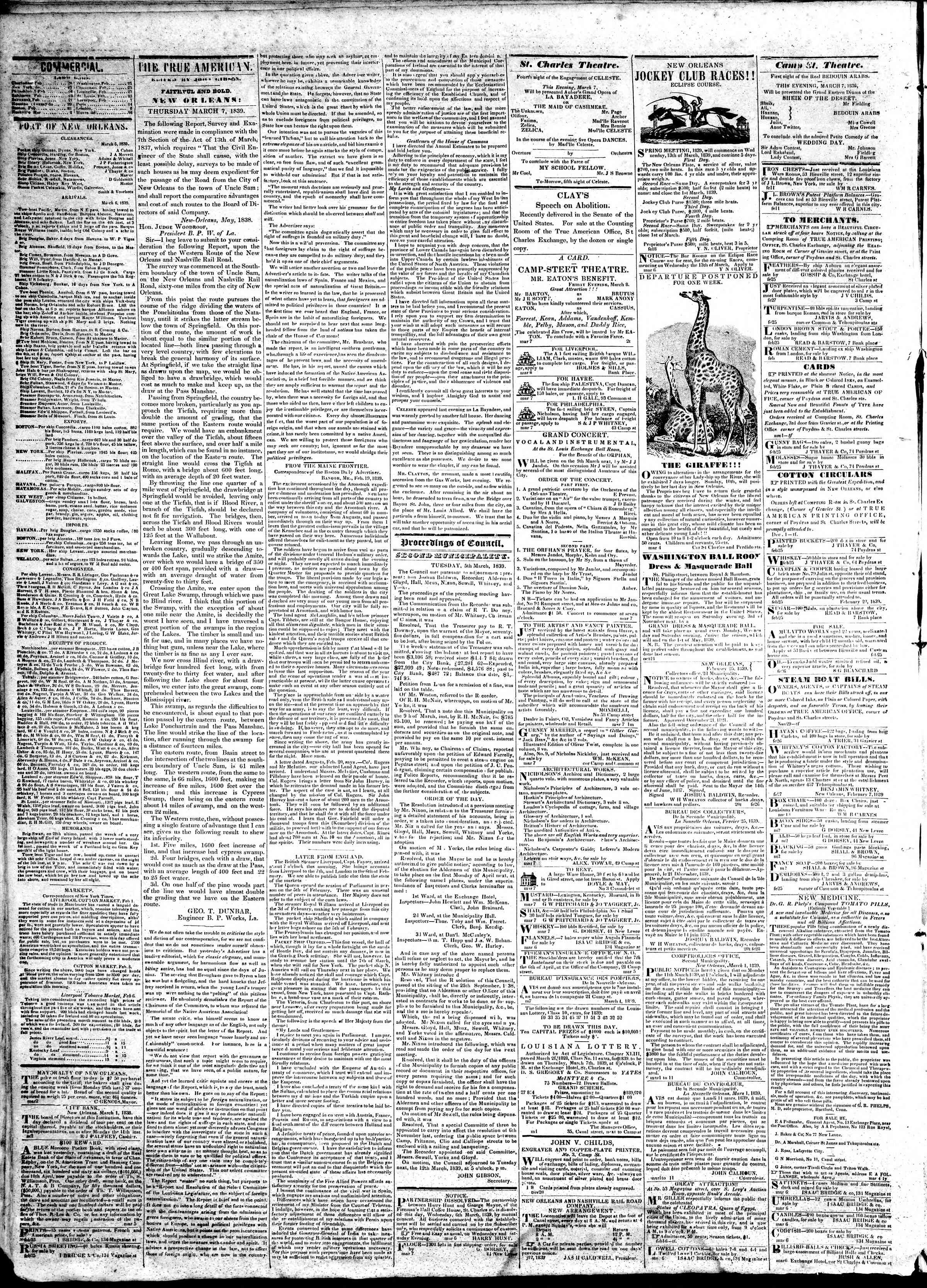 March 7, 1839 Tarihli True American Gazetesi Sayfa 2