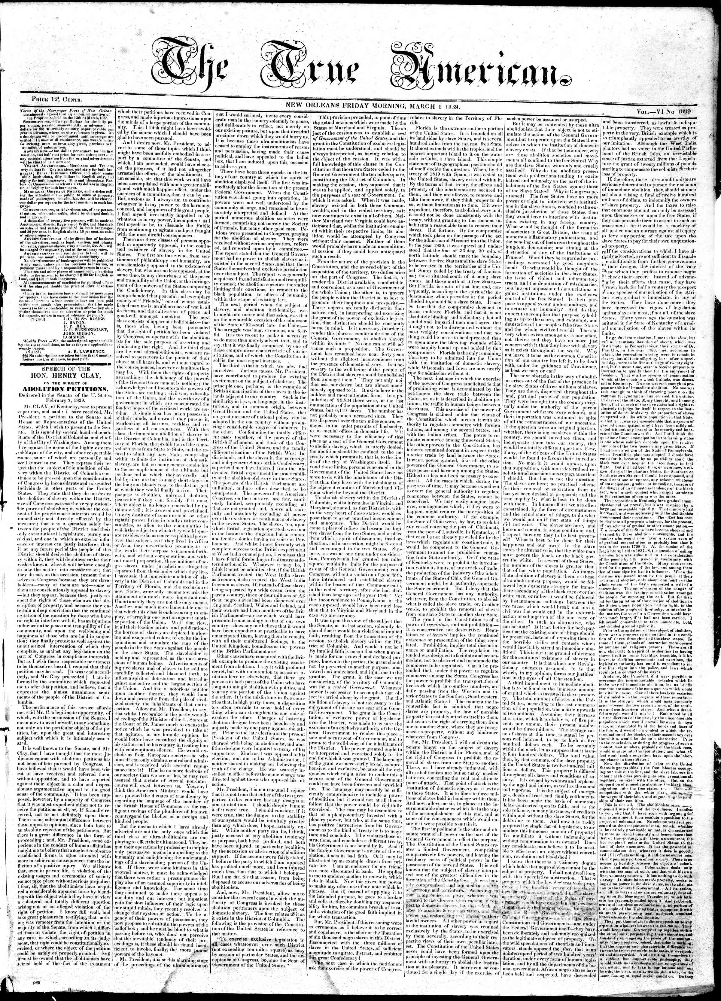 March 8, 1839 Tarihli True American Gazetesi Sayfa 1