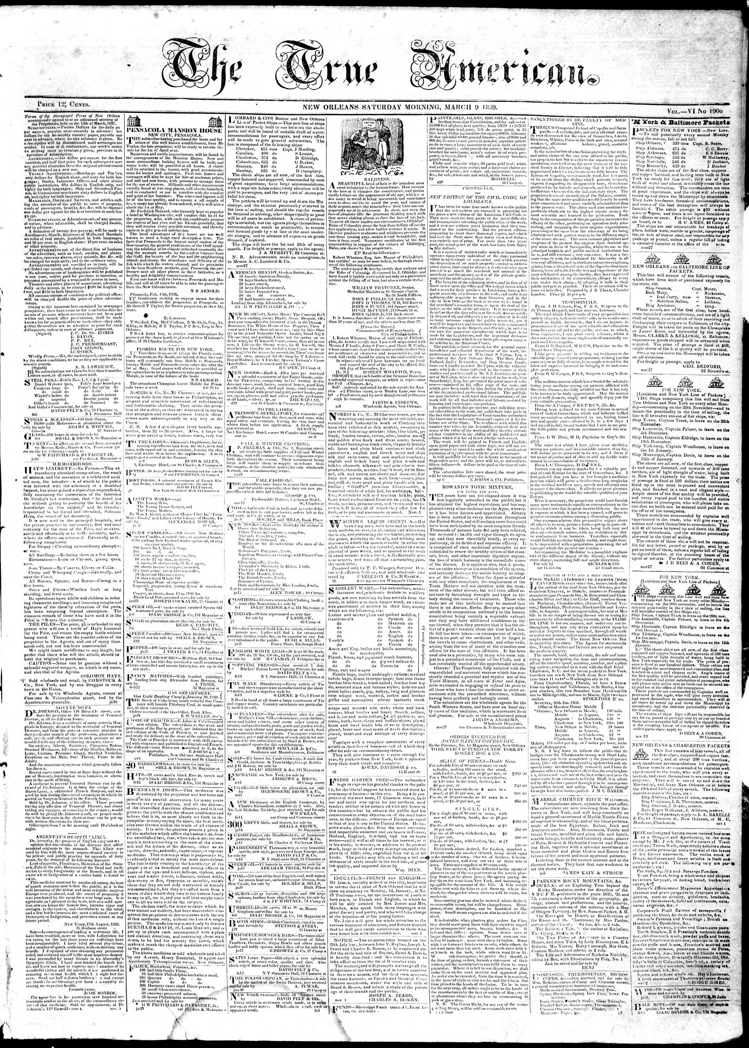 9 Mart 1839 Tarihli True American Gazetesi Sayfa 1