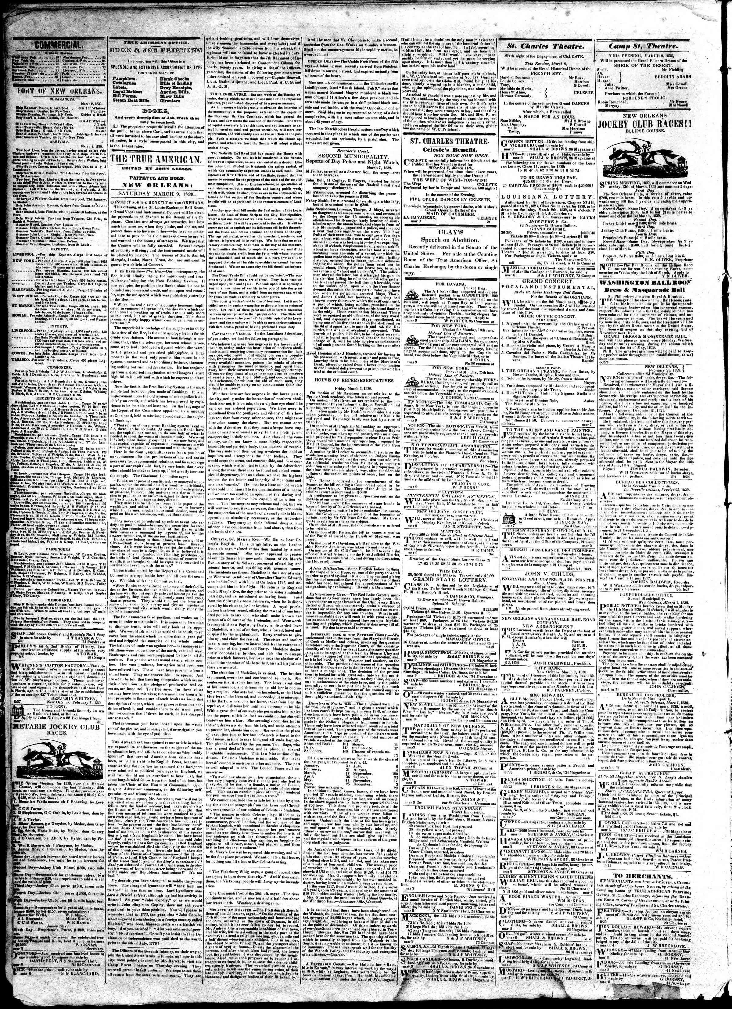 Newspaper of True American dated March 9, 1839 Page 2