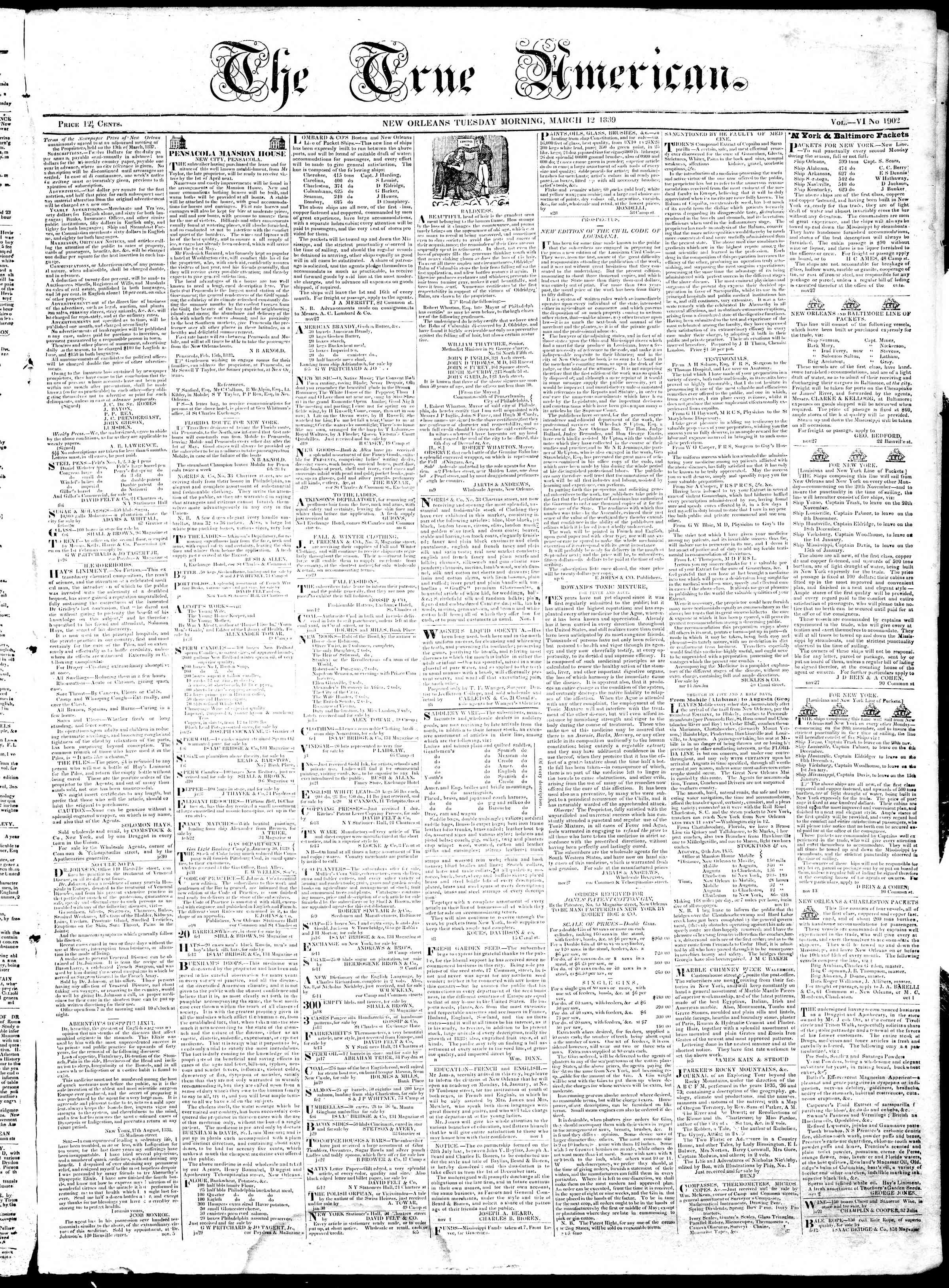 12 Mart 1839 Tarihli True American Gazetesi Sayfa 1