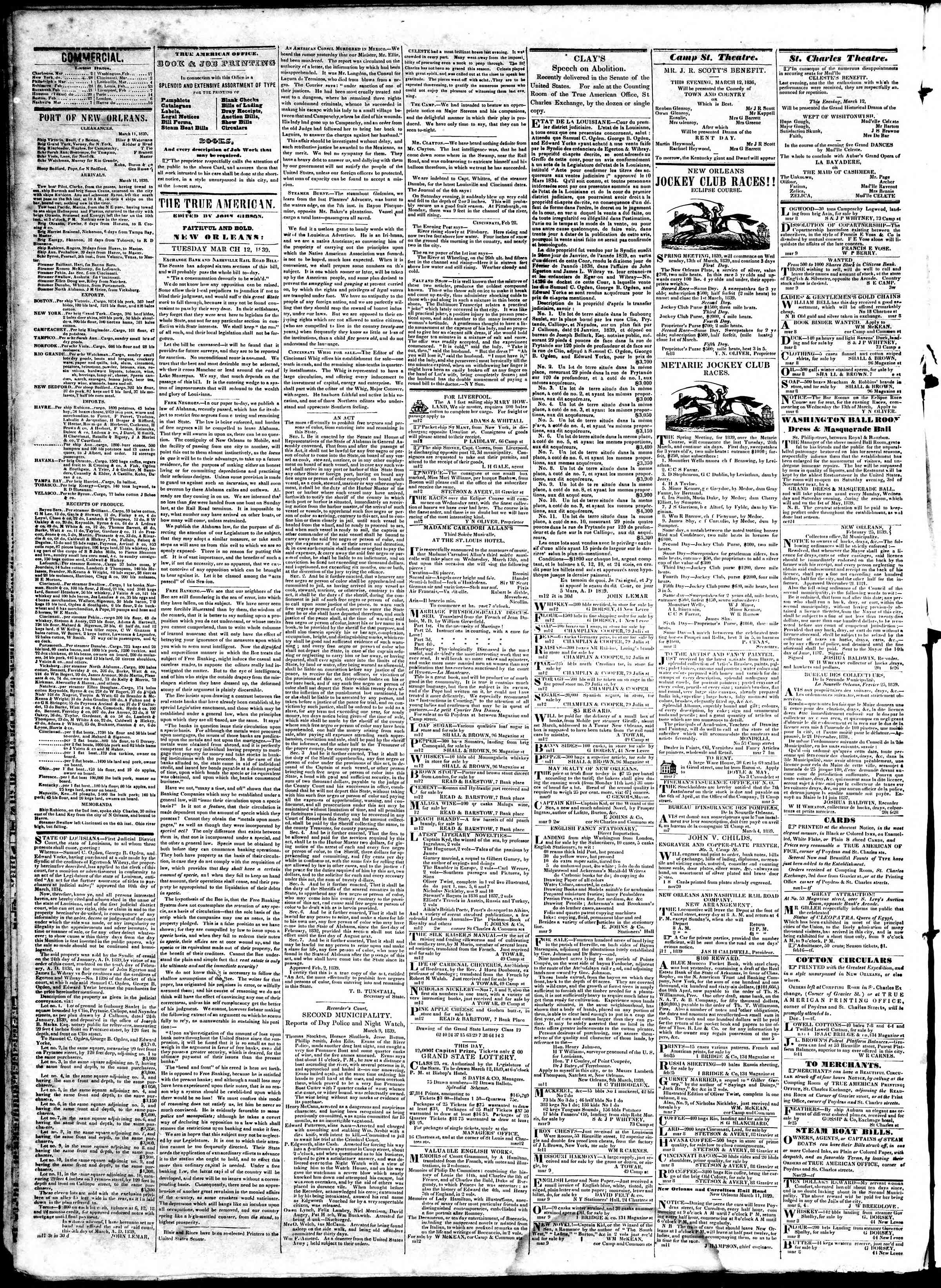 March 12, 1839 Tarihli True American Gazetesi Sayfa 2