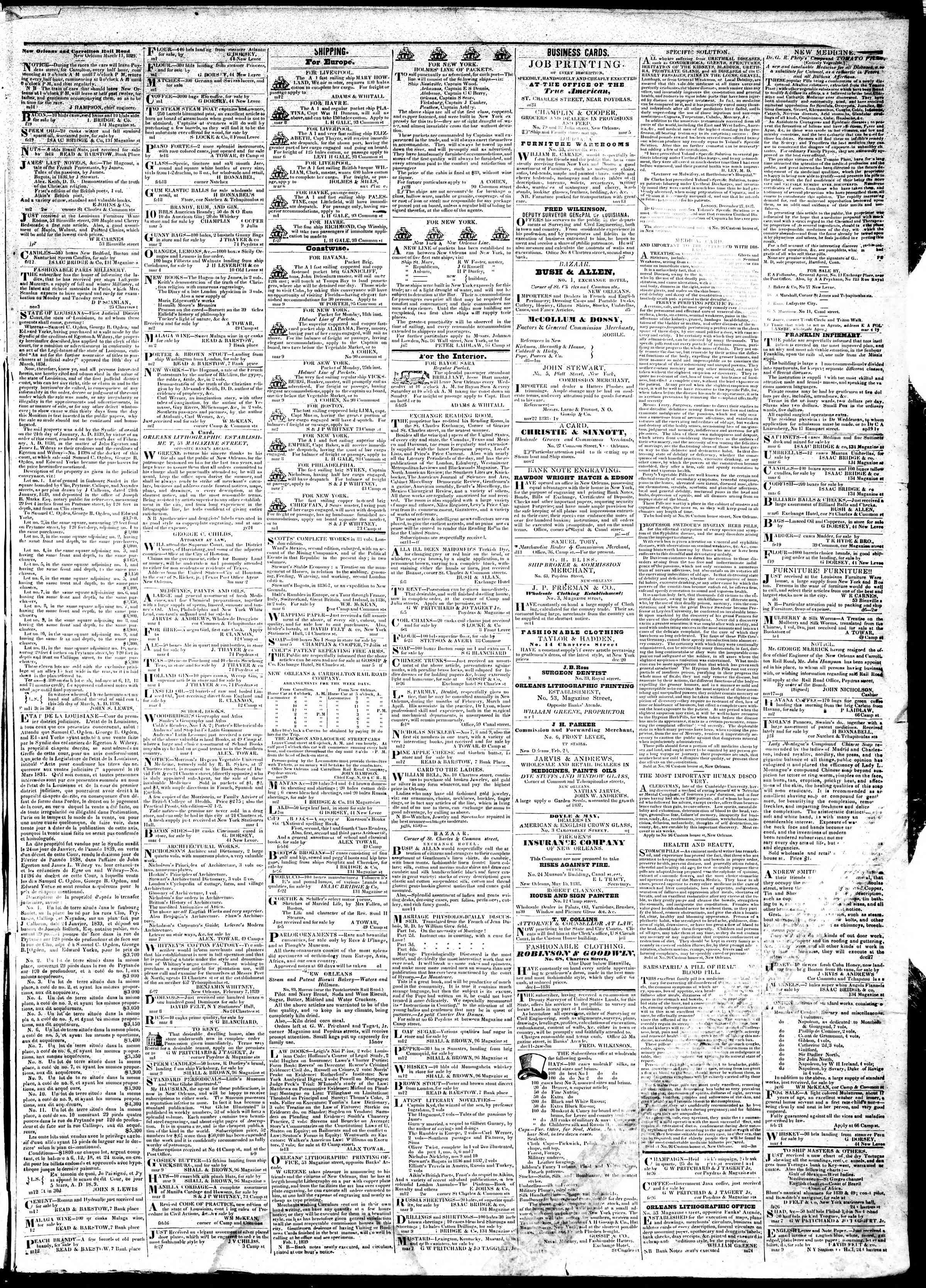 13 Mart 1839 tarihli True American Gazetesi Sayfa 3