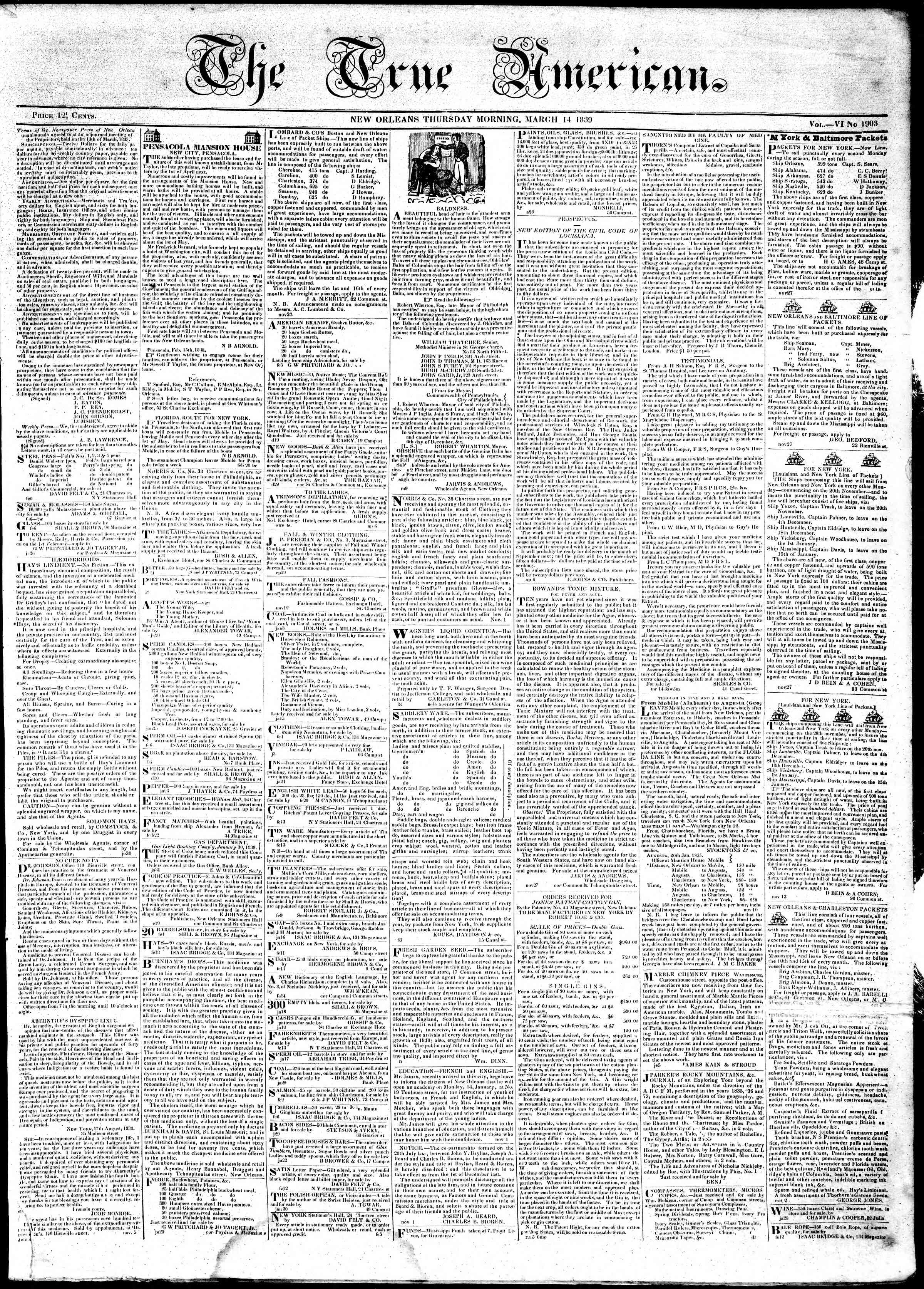 Newspaper of True American dated March 14, 1839 Page 1