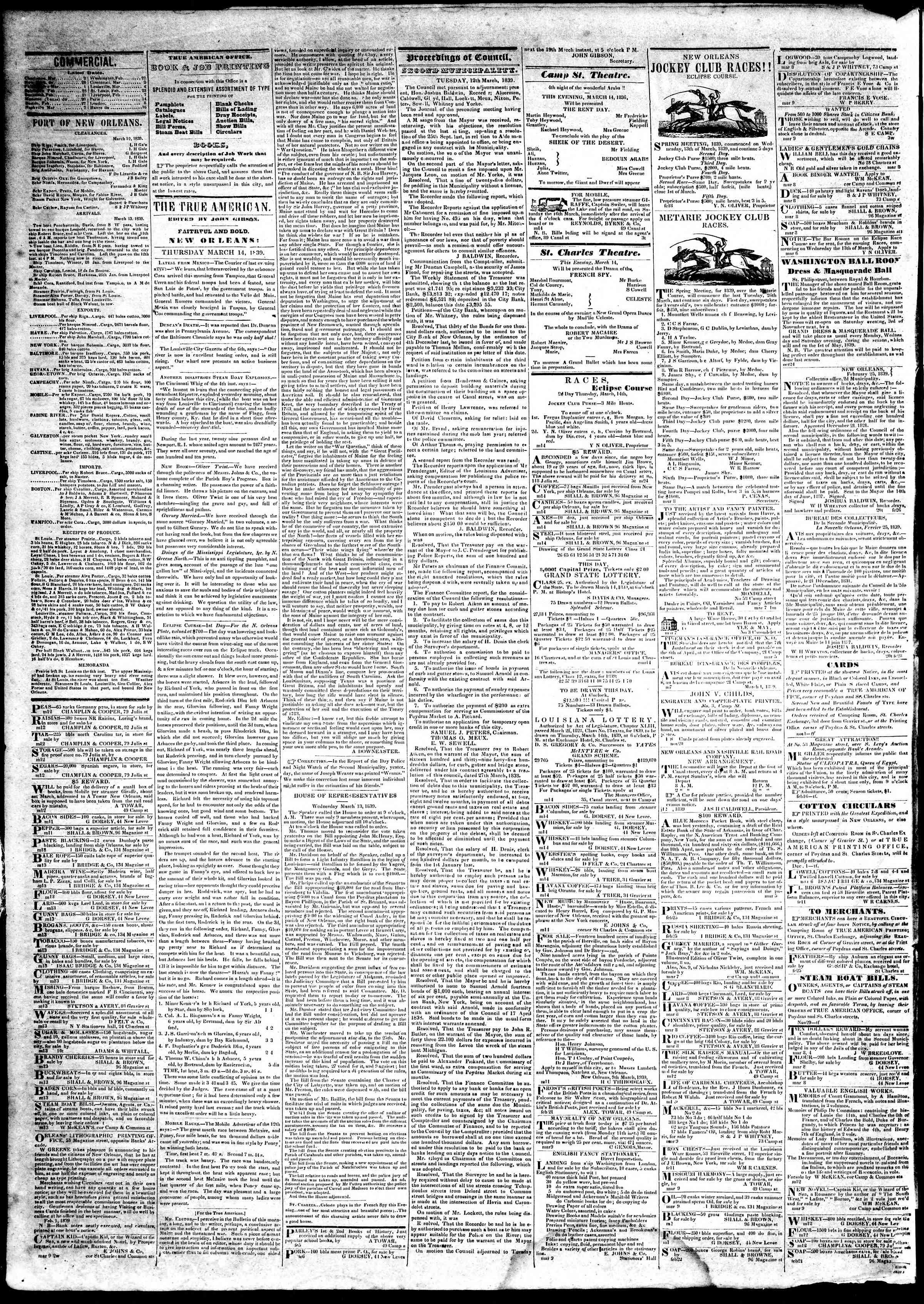 March 14, 1839 Tarihli True American Gazetesi Sayfa 2