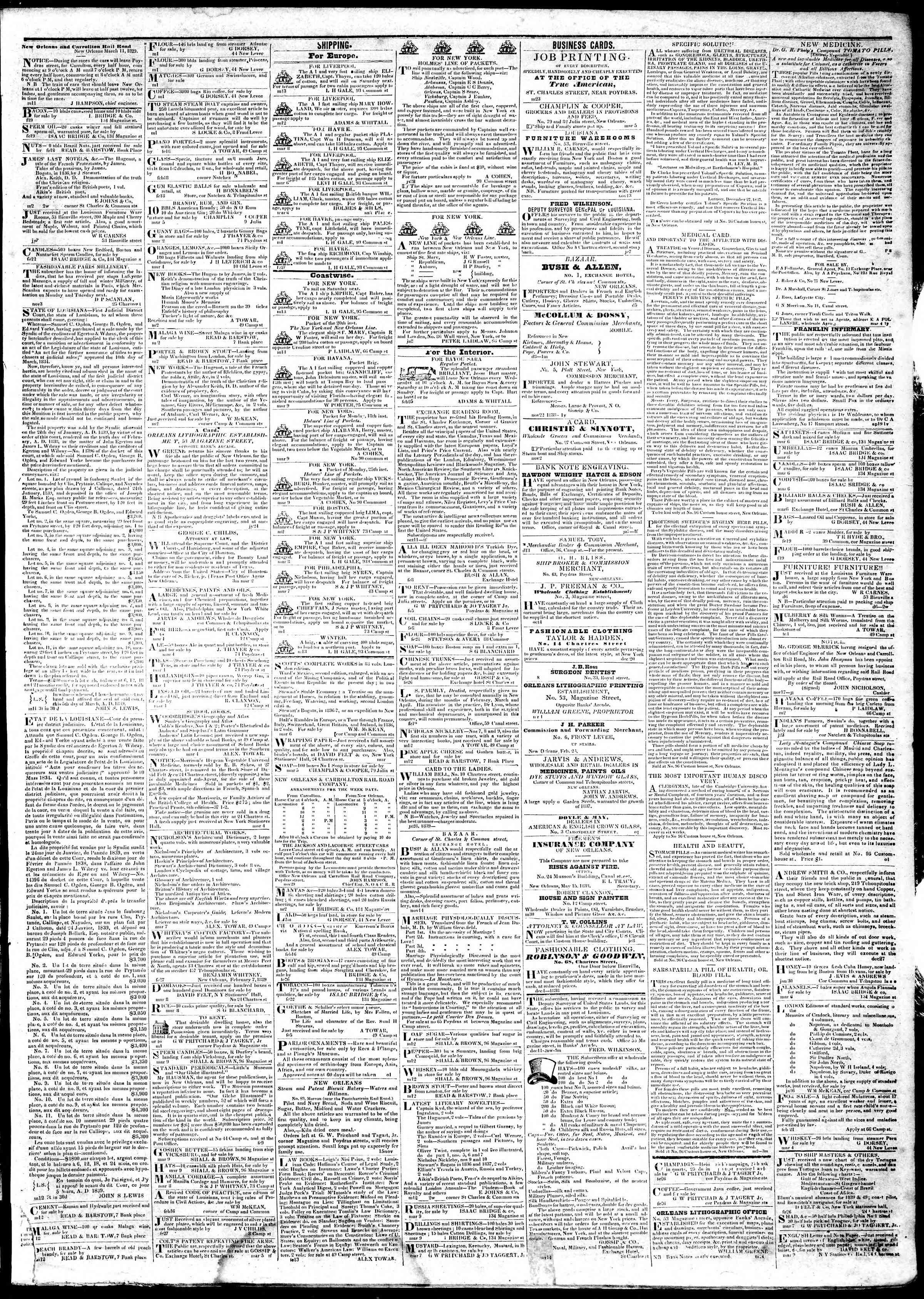 March 14, 1839 Tarihli True American Gazetesi Sayfa 3