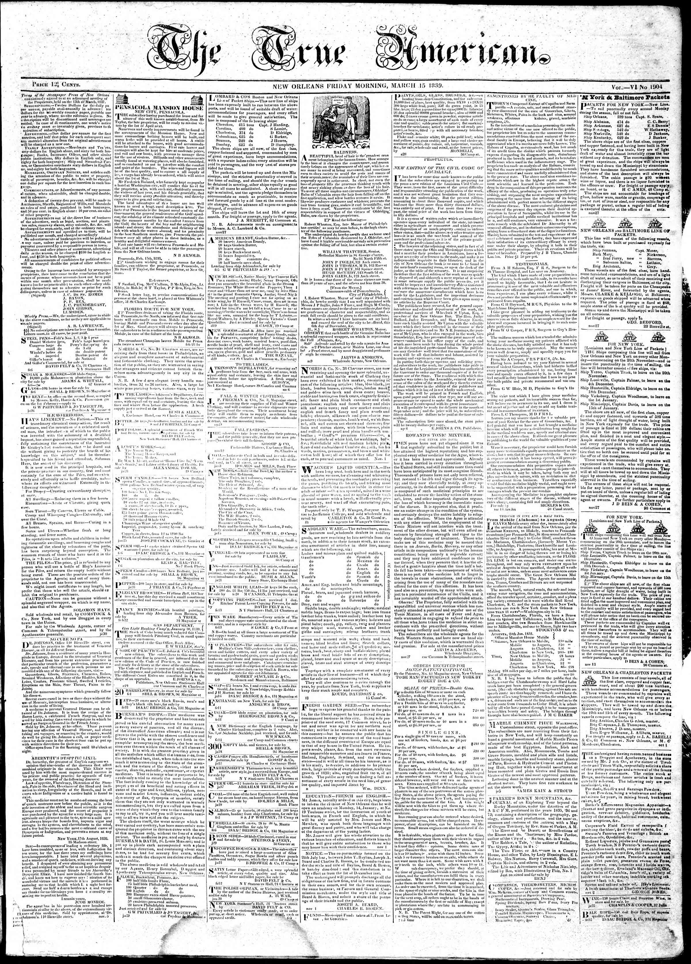 Newspaper of True American dated March 15, 1839 Page 1