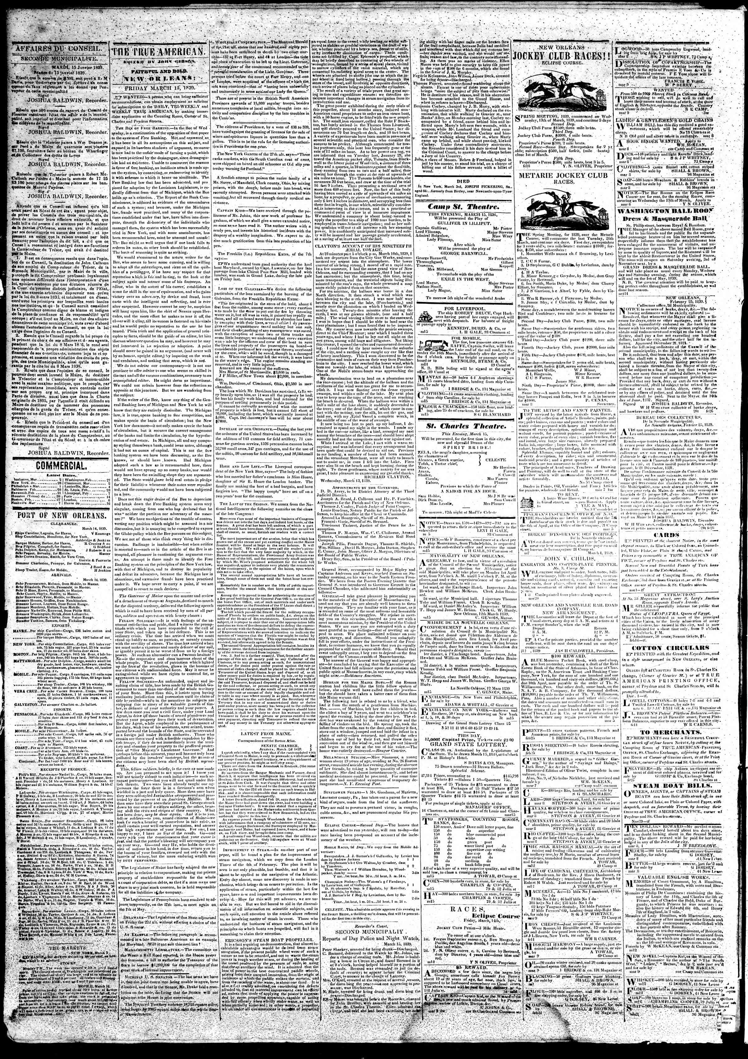 March 15, 1839 Tarihli True American Gazetesi Sayfa 2