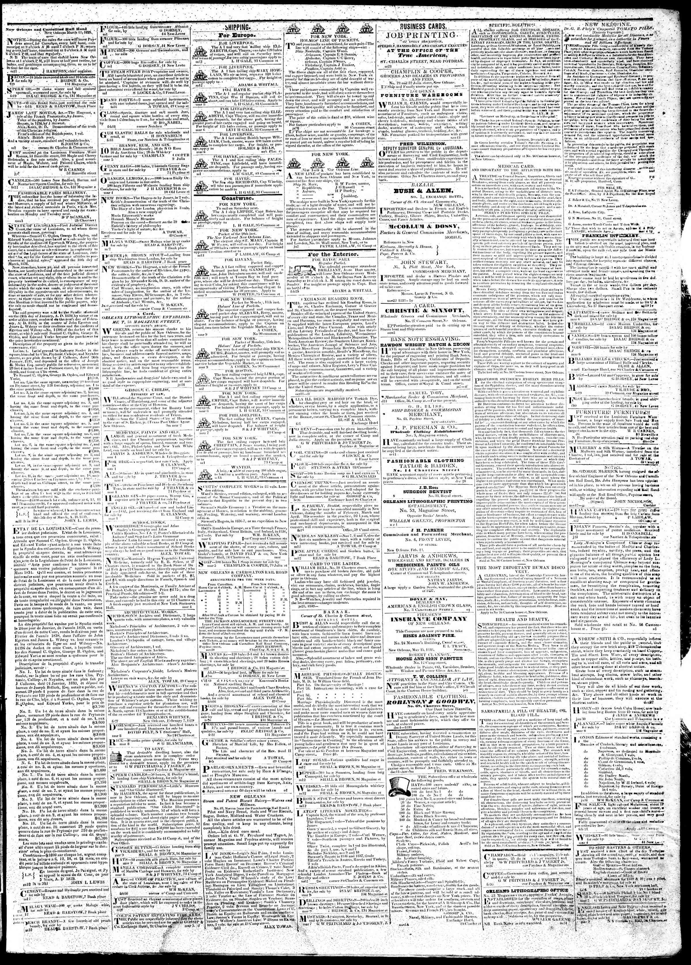 March 15, 1839 Tarihli True American Gazetesi Sayfa 3