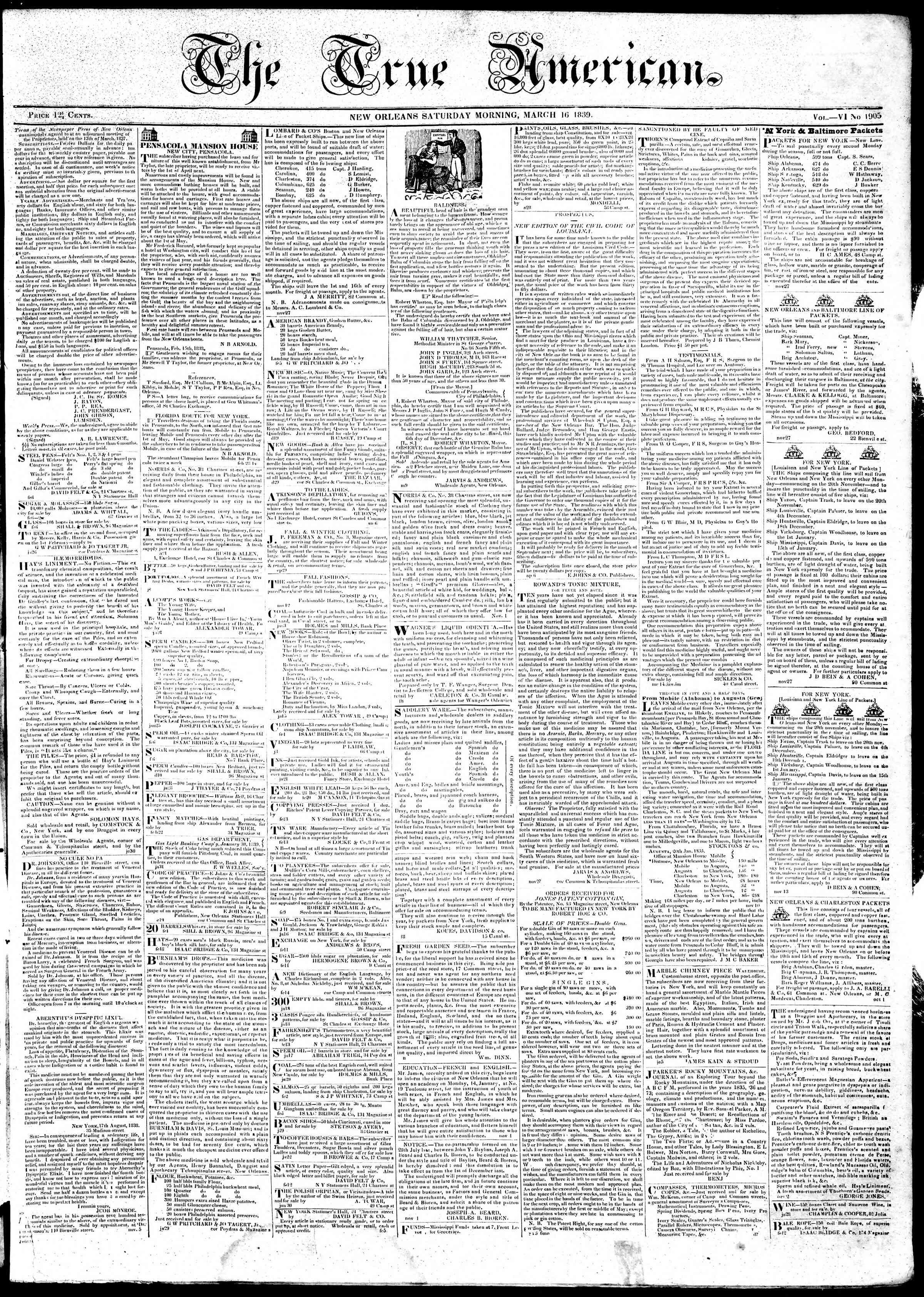 March 16, 1839 Tarihli True American Gazetesi Sayfa 1