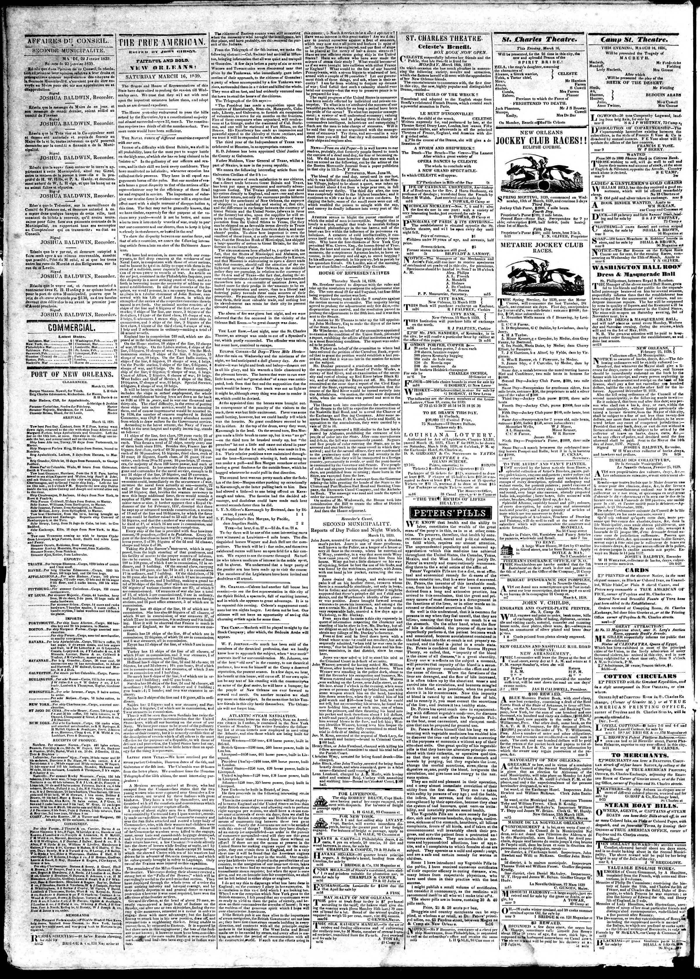 March 16, 1839 Tarihli True American Gazetesi Sayfa 2